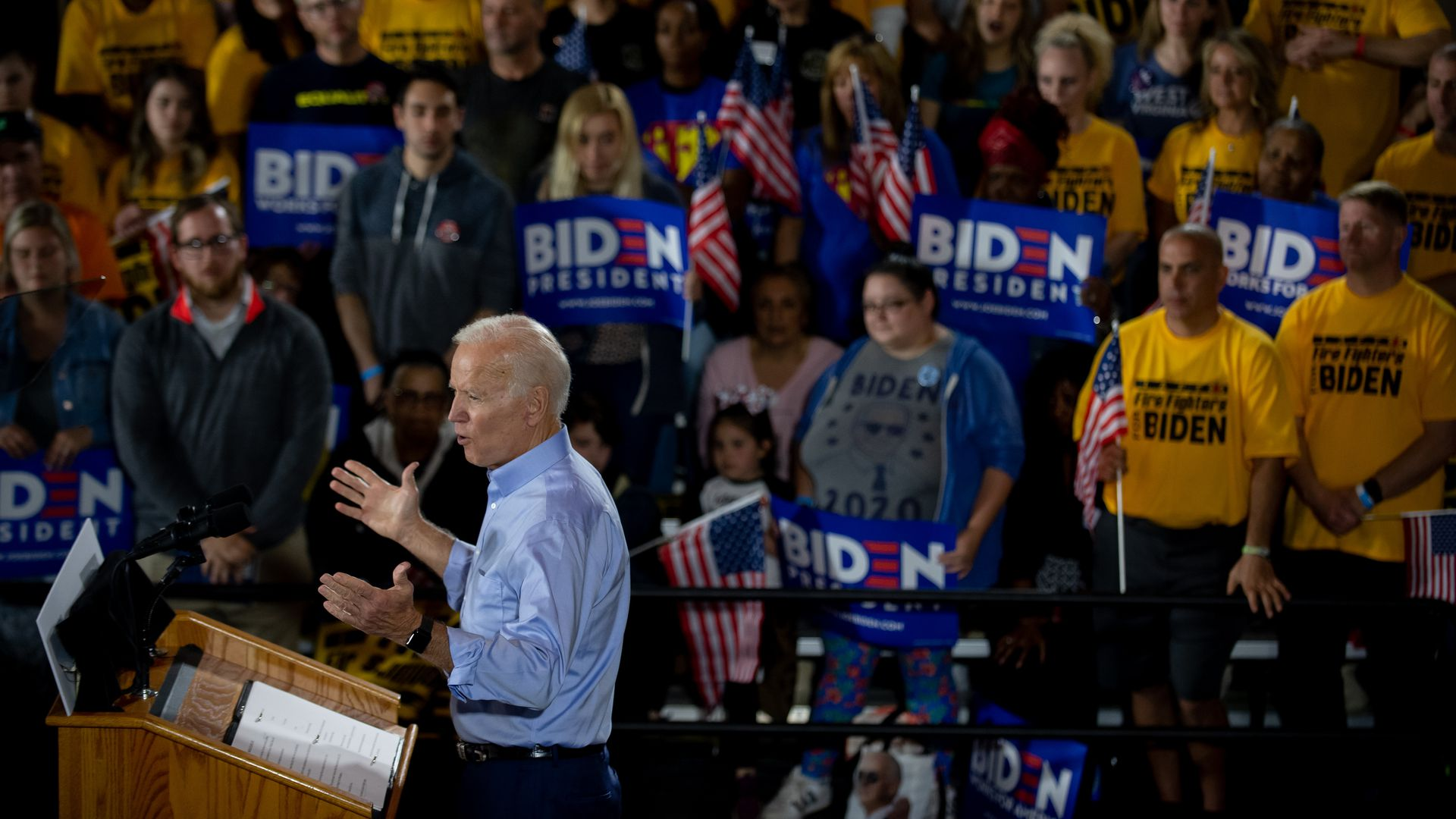 Former Vice President Joe Biden speaks at a campaign rally.