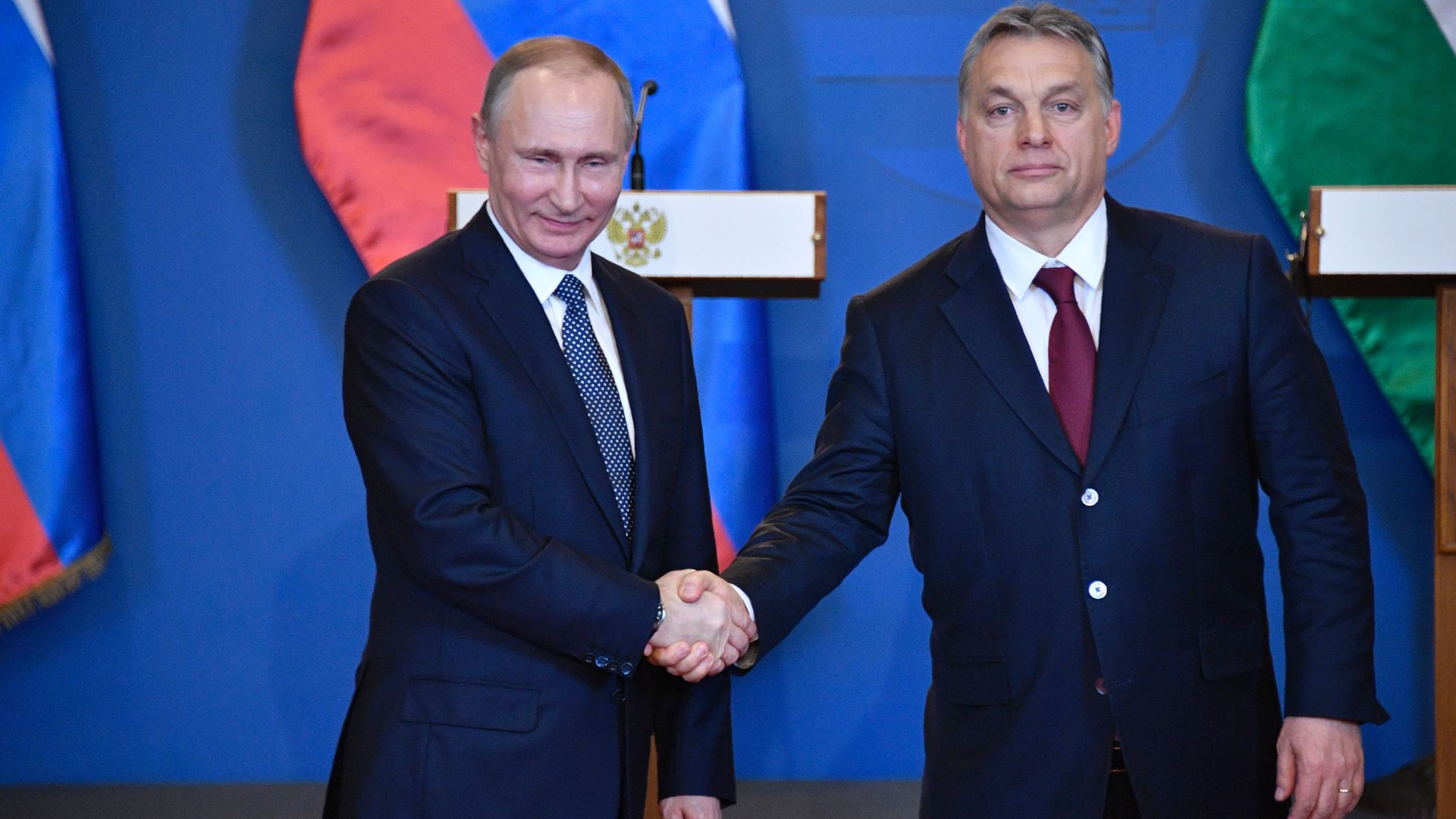 Russian President Vladimir Putin (L) and Hungarian Prime Minister Viktor Orban during a joint press conference on February 2, 2017 in Budapest.