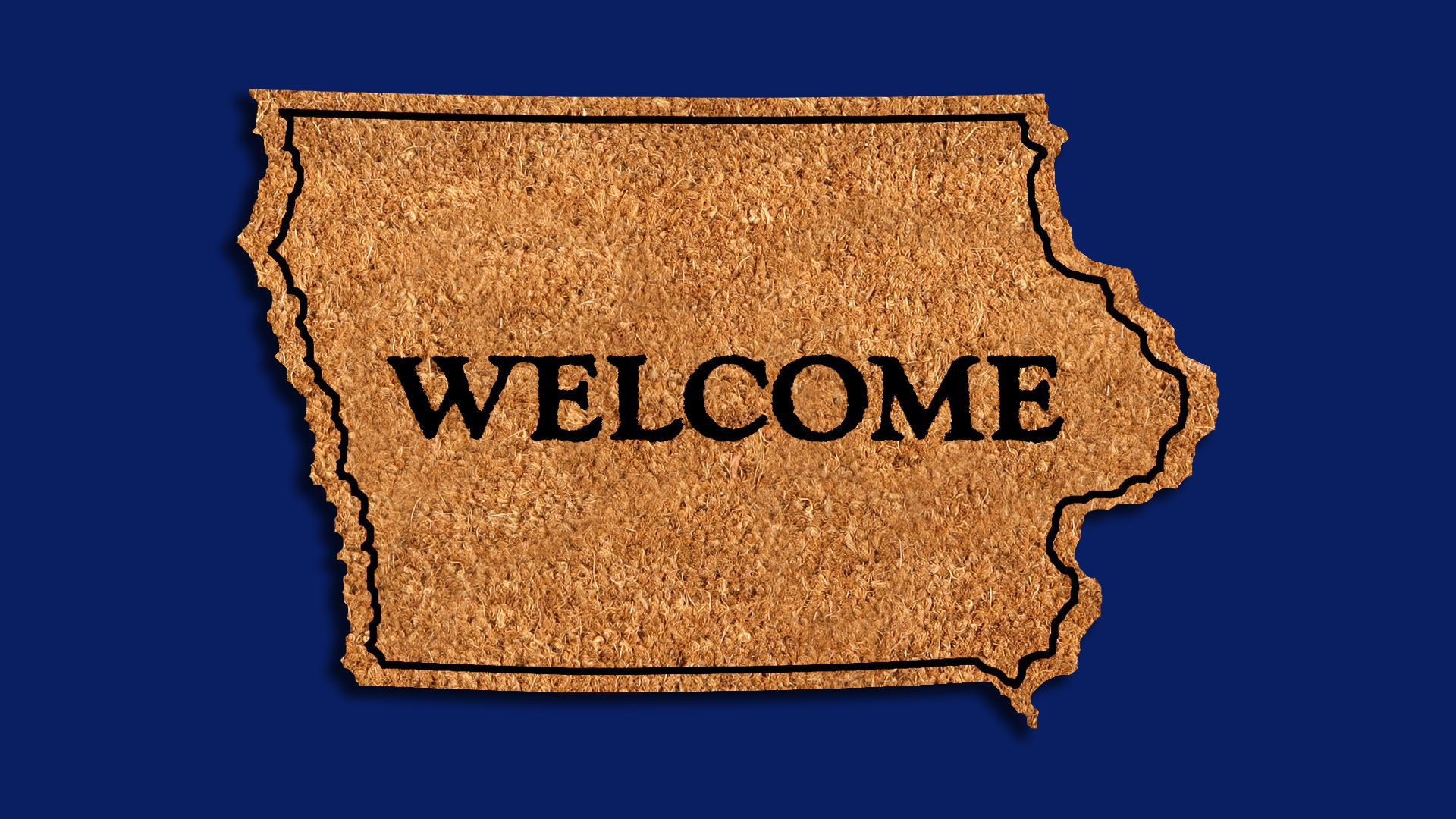 Illustration of a welcome mat in the shape of Iowa.