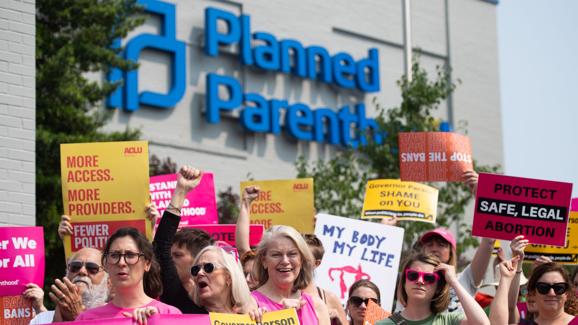 Pro-choice supporters and staff of Planned Parenthood hold a rally outside the Planned Parenthood Reproductive Health Services Center in St. Louis, Missouri, May 31.