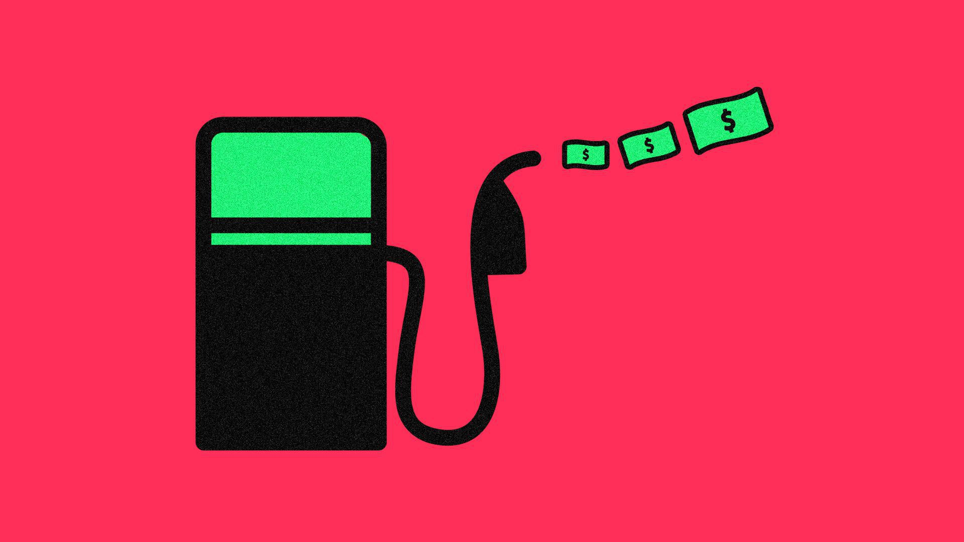 a gas tank with the nozzle pumping dollar bills