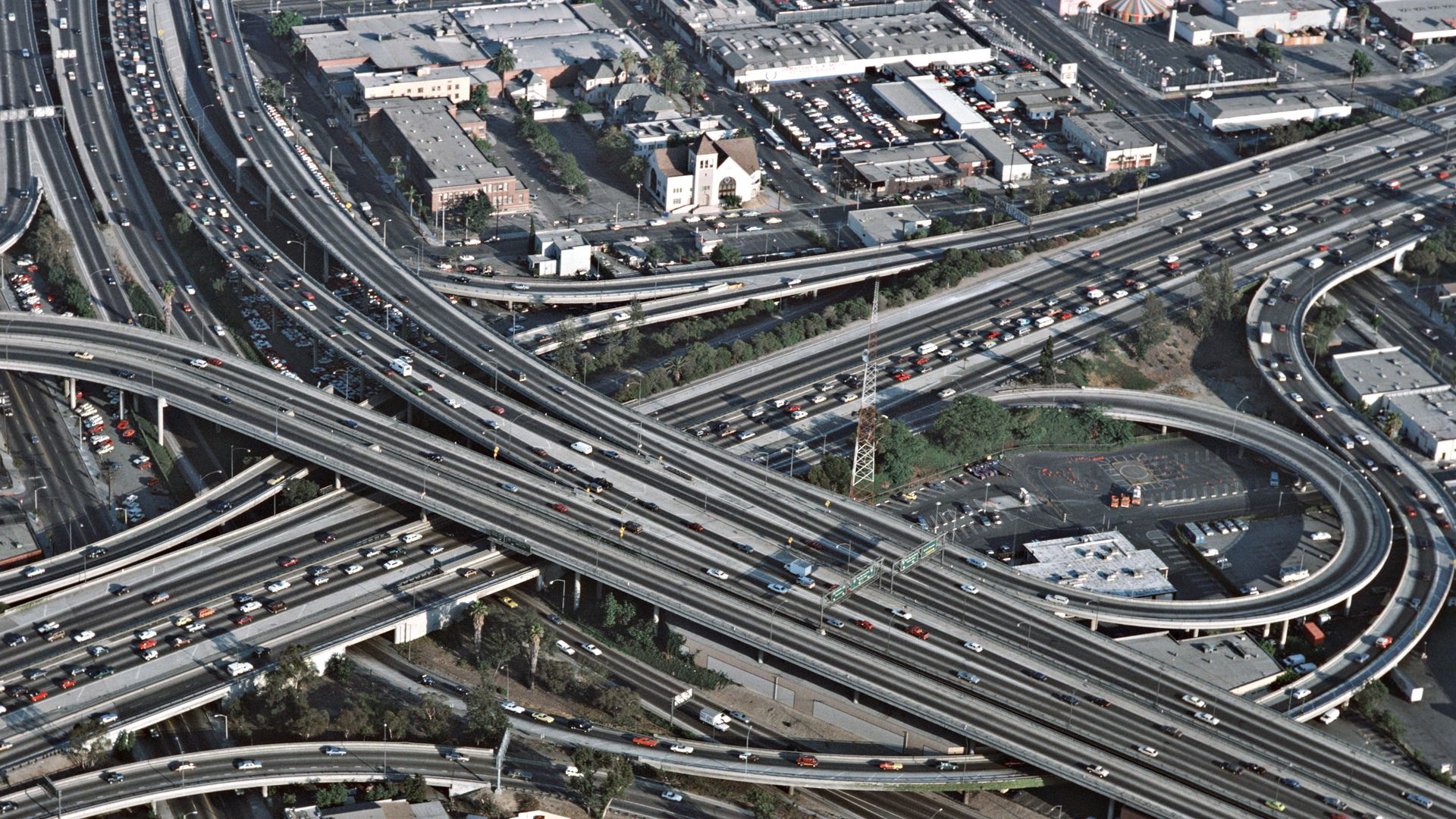 An aerial view of the freeways in Los Angeles