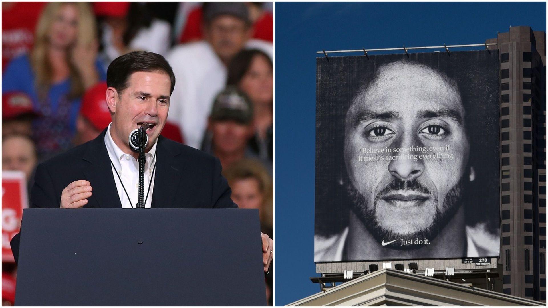Gov. Doug Ducey and former NFL quarterback turned activist Colin Kaepernick.