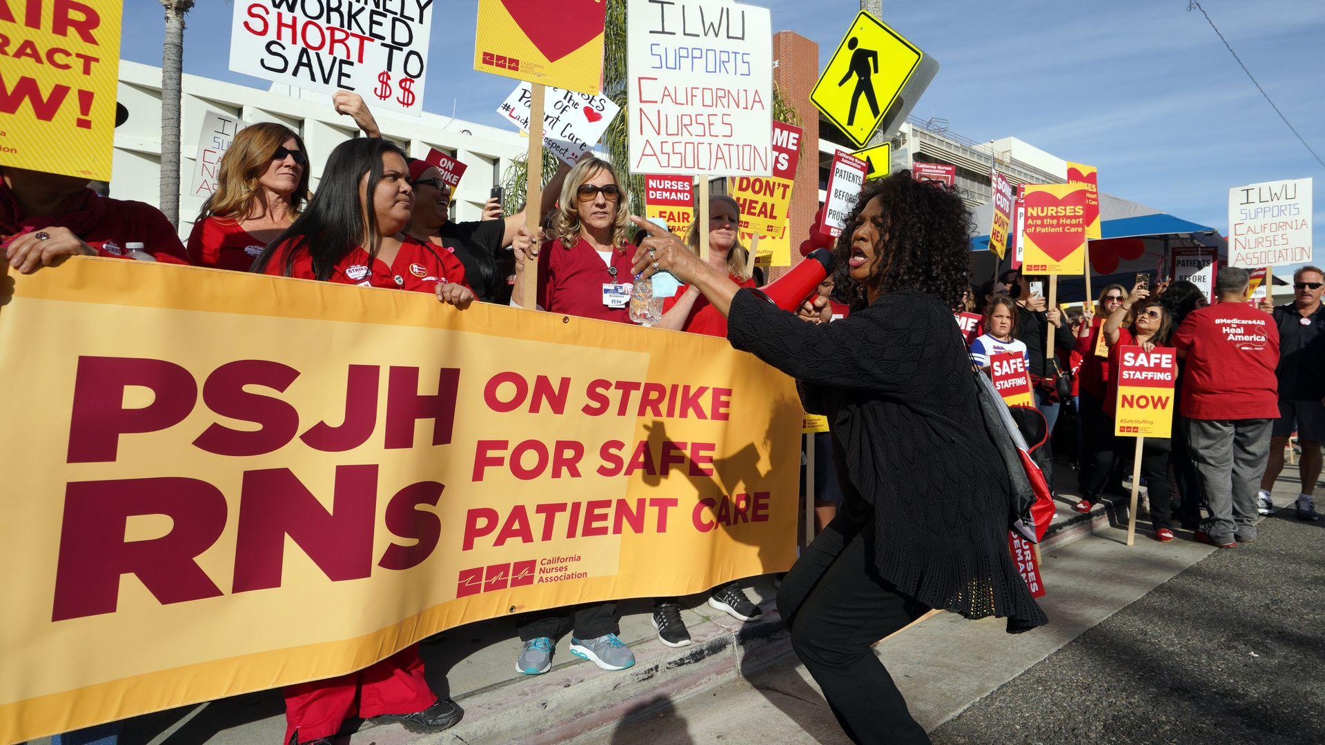 Nurses strike in San Pedro, California.