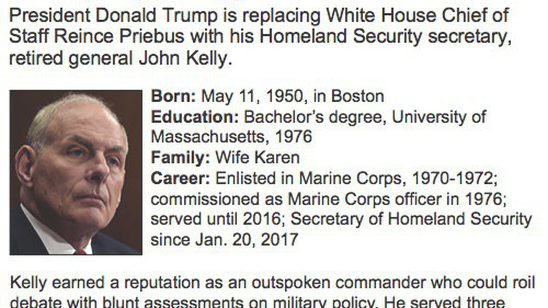 A brief biography of John Kelly