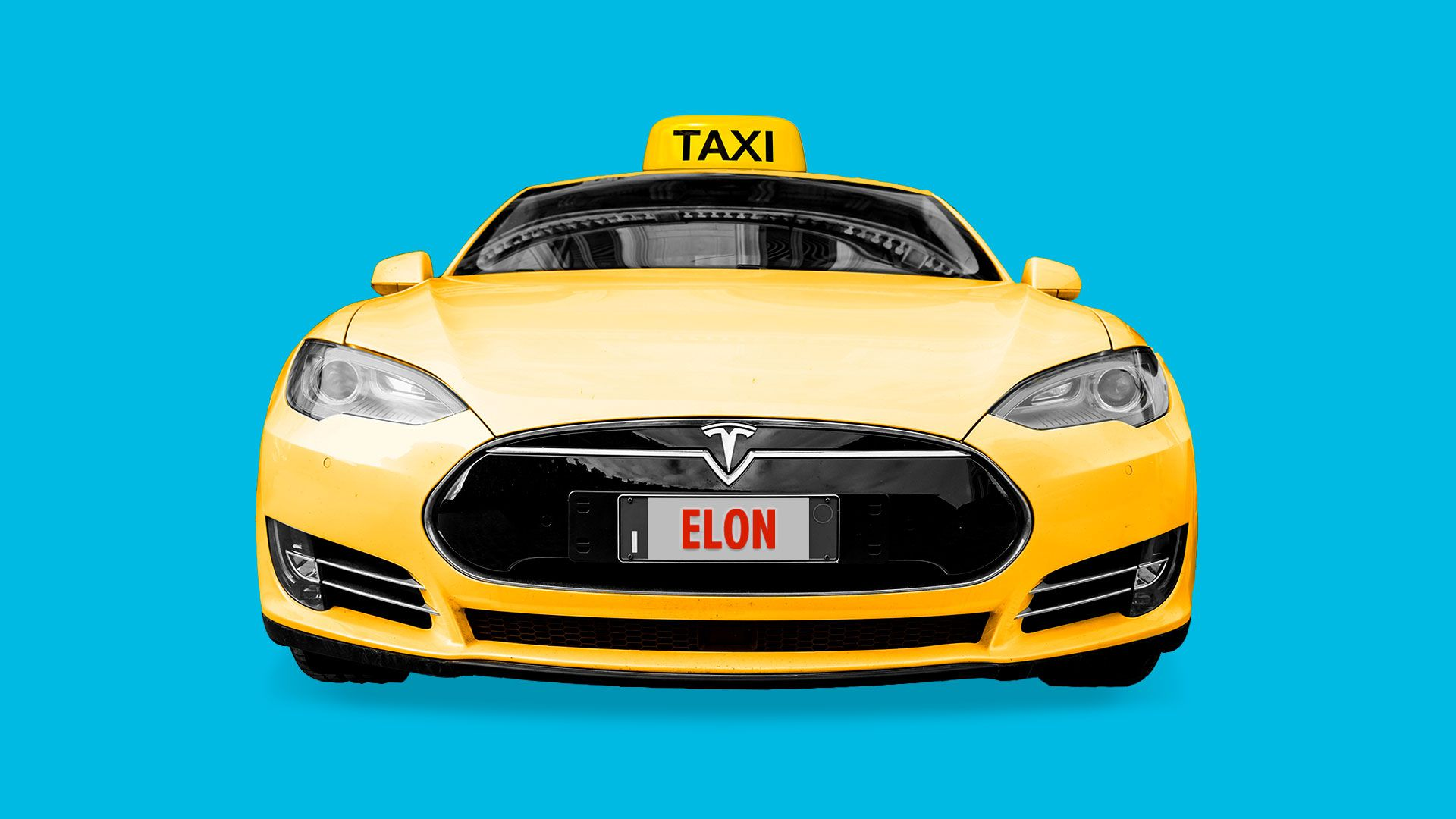 Illustration of a yellow Tesla car with a Taxi sign on top.