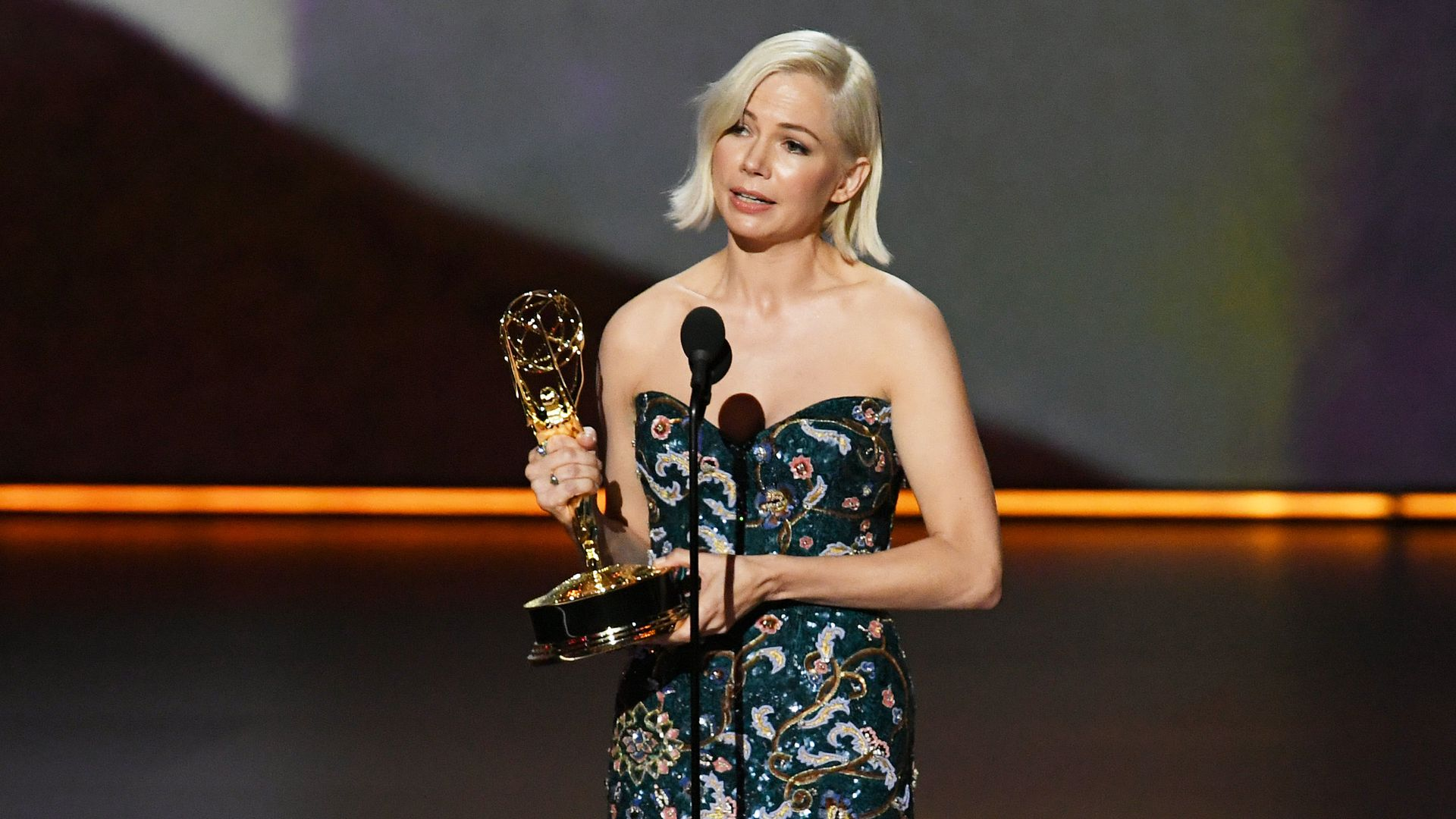Michelle Williams accepts the Outstanding Lead Actress in a Limited Series or Movie award for 'Fosse/Verdon' onstage during the 71st Emmy Awards at Microsoft Theater on September 22
