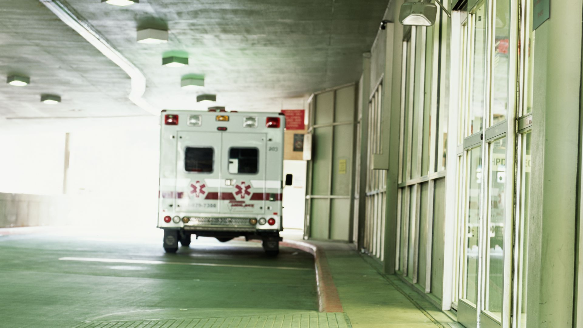Ambulance in front of the ER