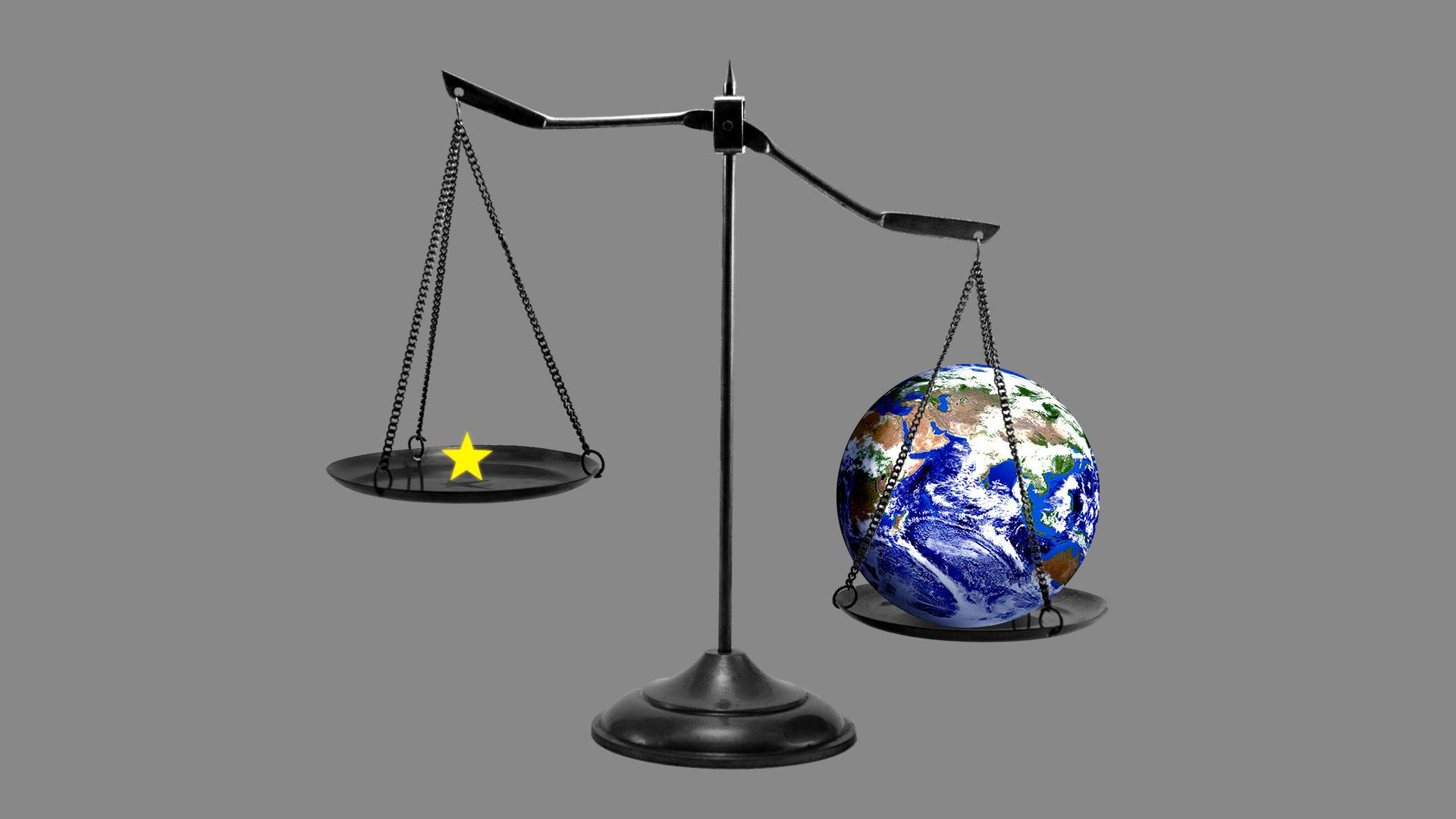 Illustration of scale with globe on one side and small star from EU flag on the other.