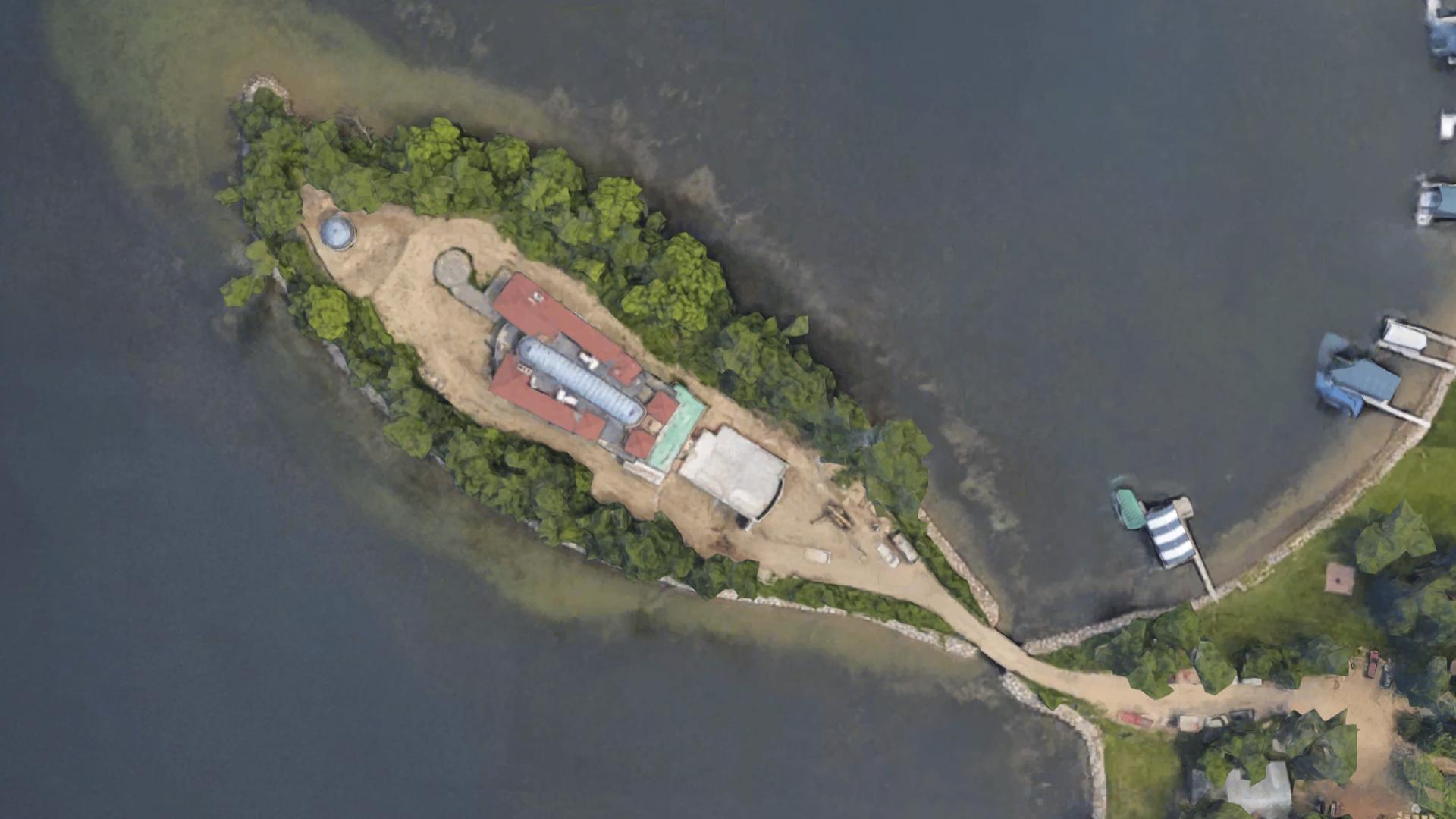 Aerial photo of home sitting on private Lake Minnetonka island.