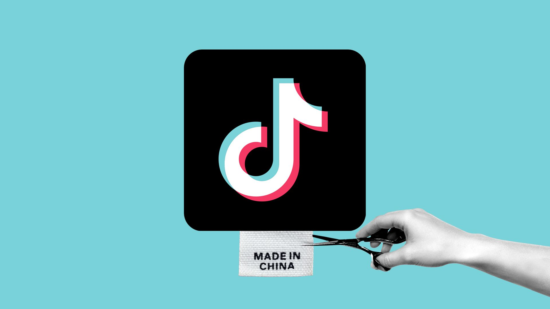 Illustration of a TikTok logo with a Made in China tag being cut off.