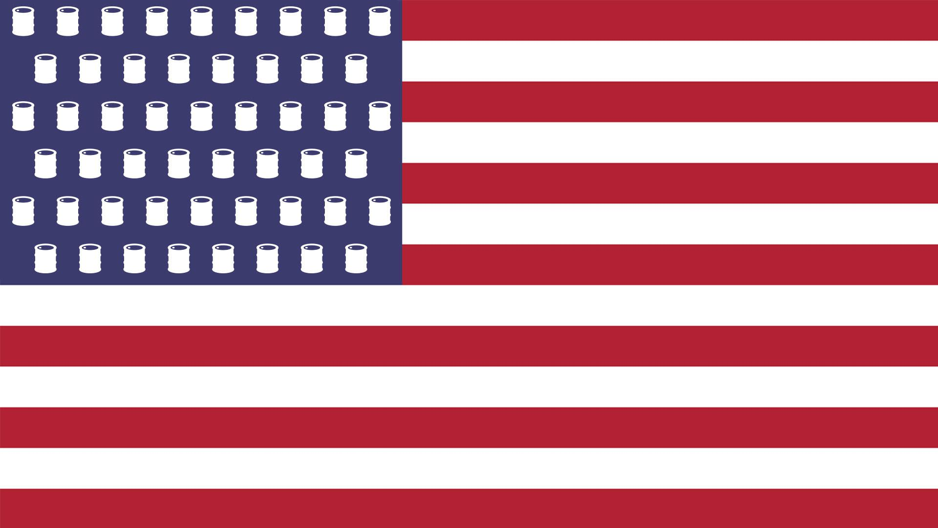 Illustration of an American flag with oil barrels instead of stars.