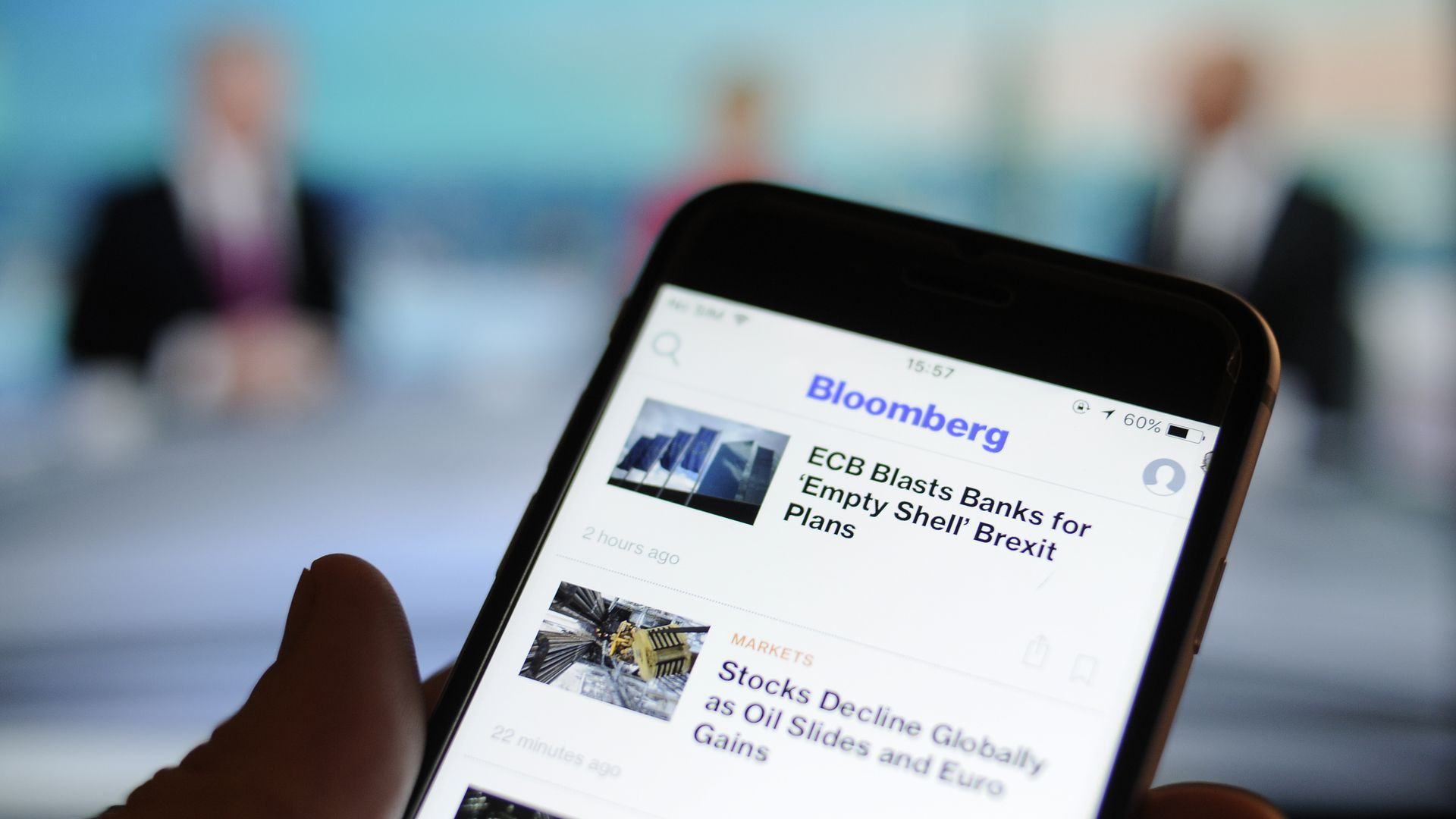 The Bloomberg news application seen on a smartphone.