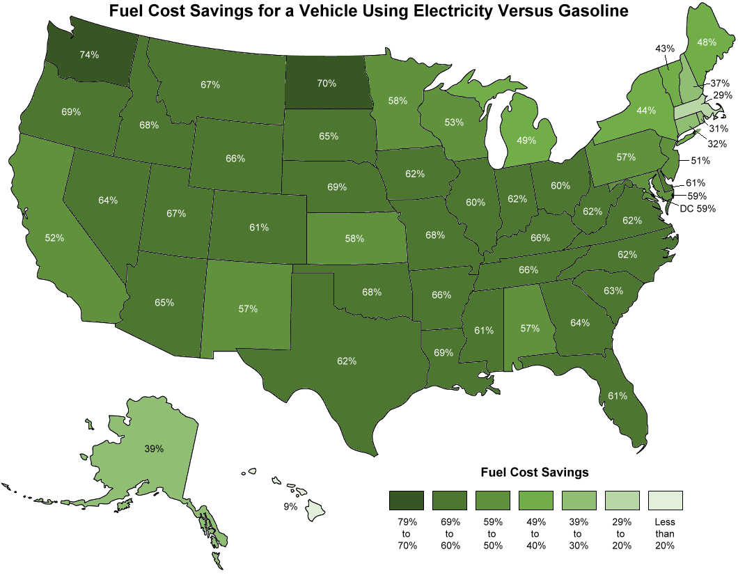 Cost of EV fueling vs. gasoline by state