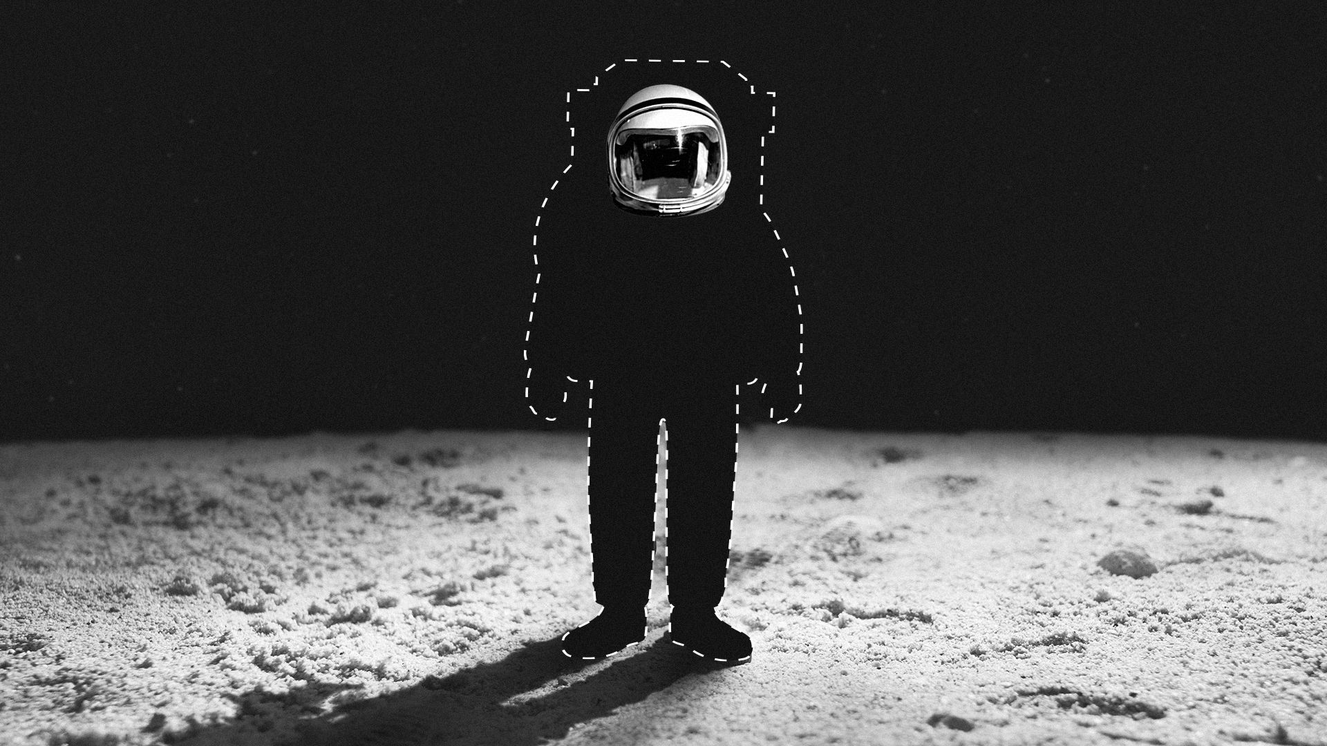 Illustration of an astronaut without a suit on the moon