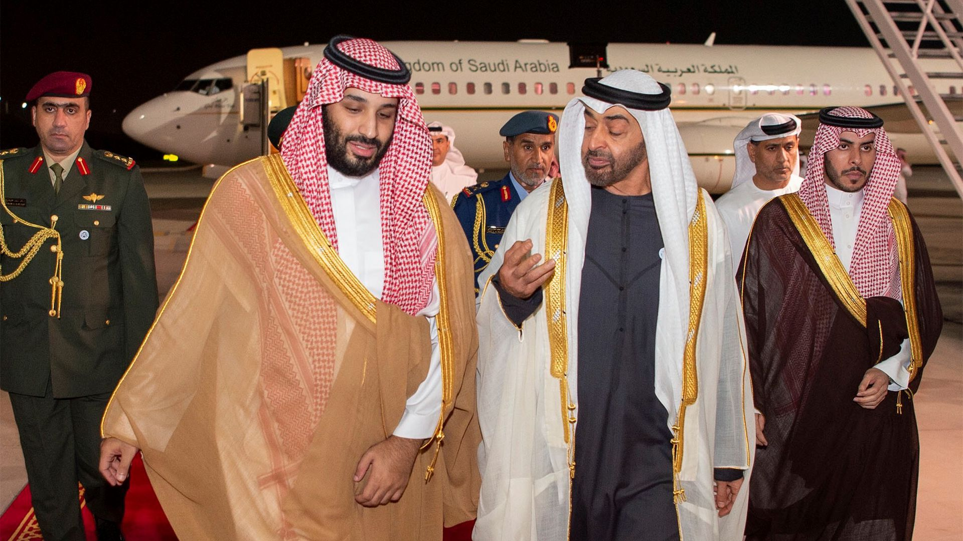 Saudi Crown Prince Mohammed bin Salman (L) with Crown Prince of Abu Dhabi Mohammed bin Zayed (R)