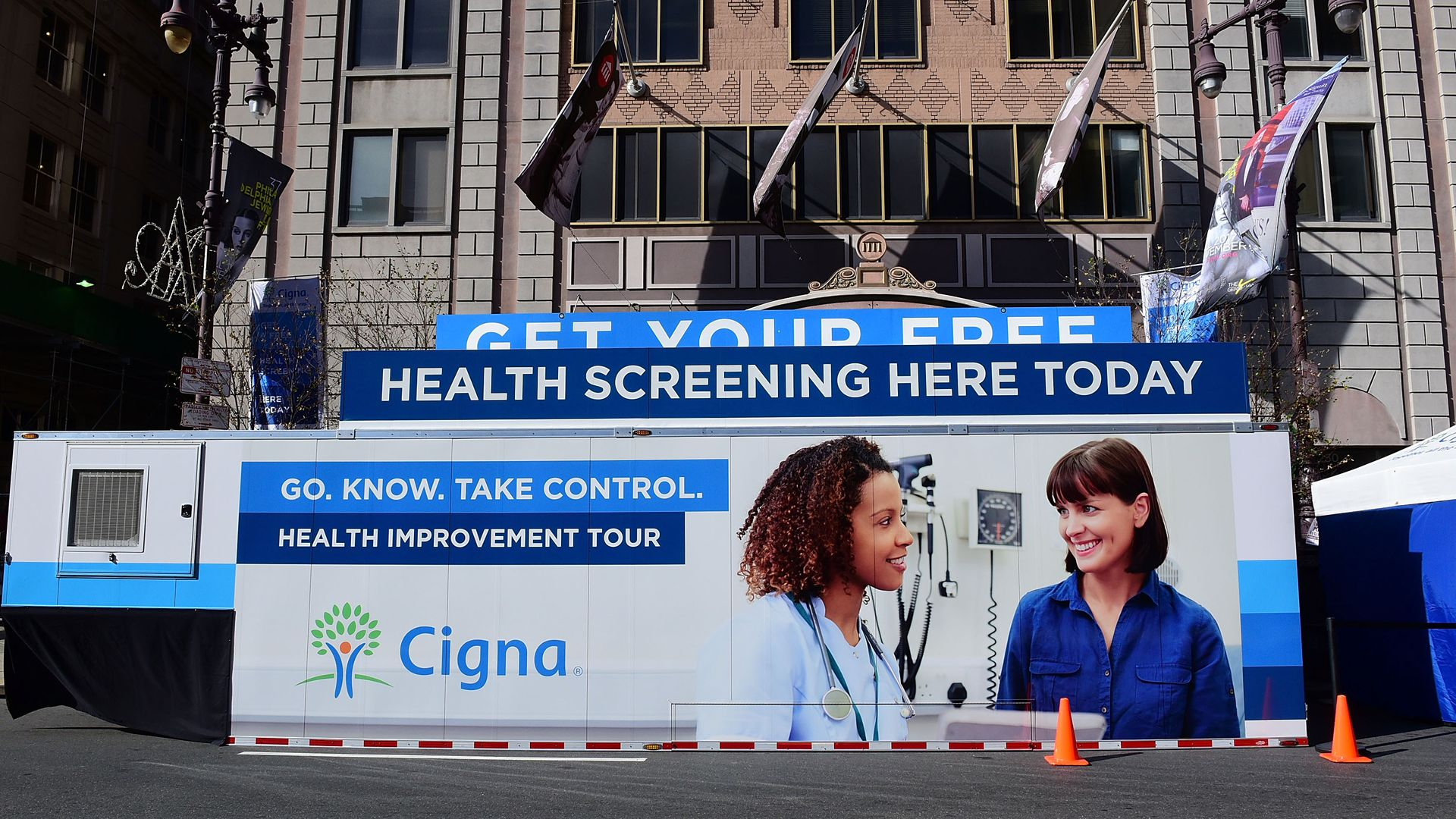 A mobile van sponsored by Cigna promotes free health screenings.