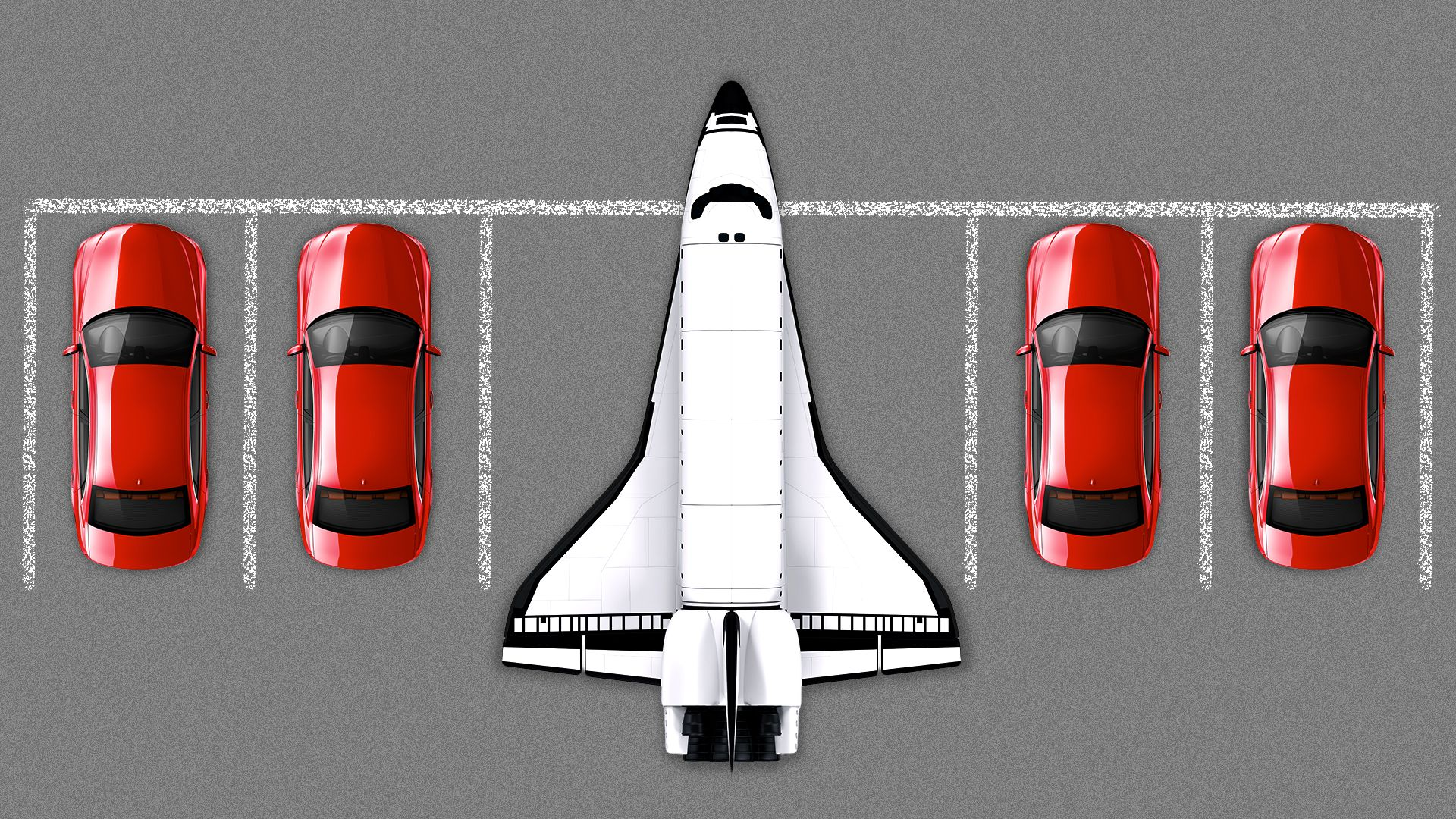 Illustration of a space shuttle in a parking lot with other cars.