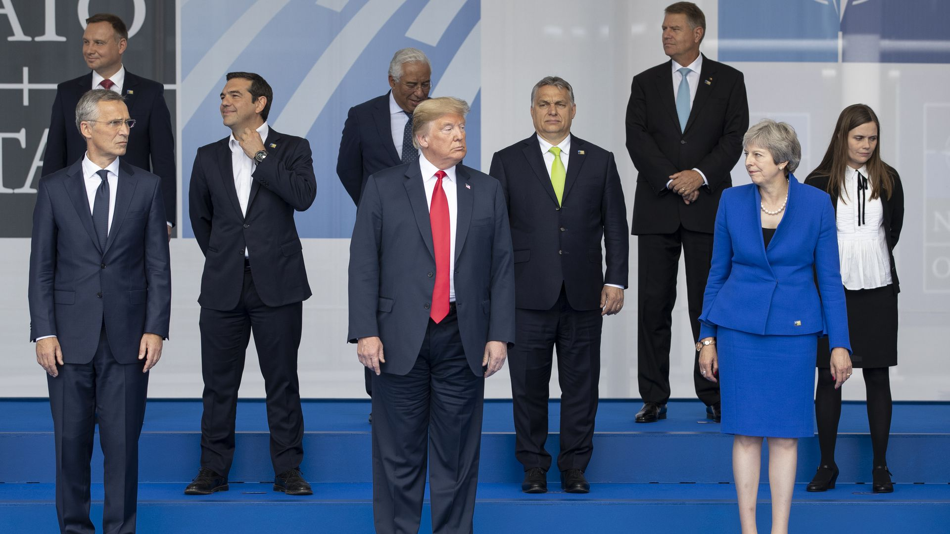 President Trump and U.K. Prime Minister Theresa May with other NATO leaders