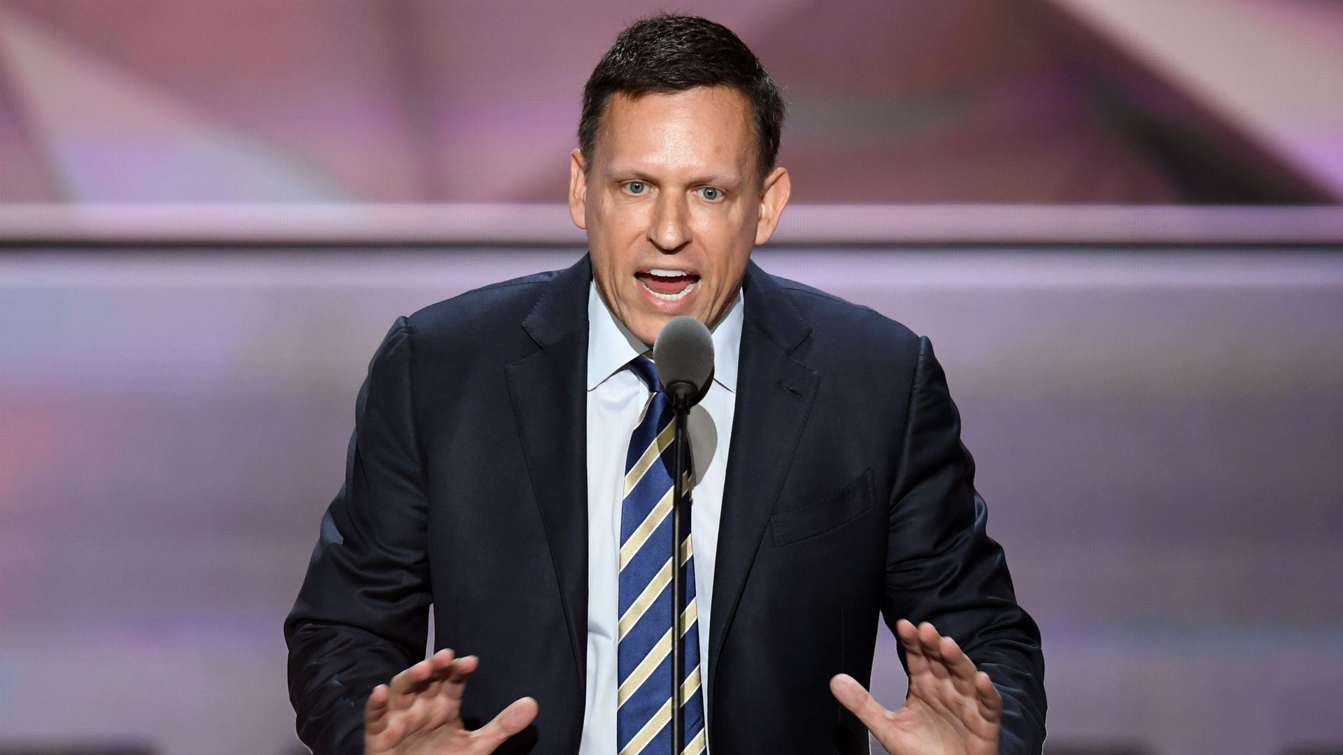 PayPal co-founder Peter Thiel speaks on the last day of the Republican National Convention on July 21, 2016, in Cleveland, Ohio.