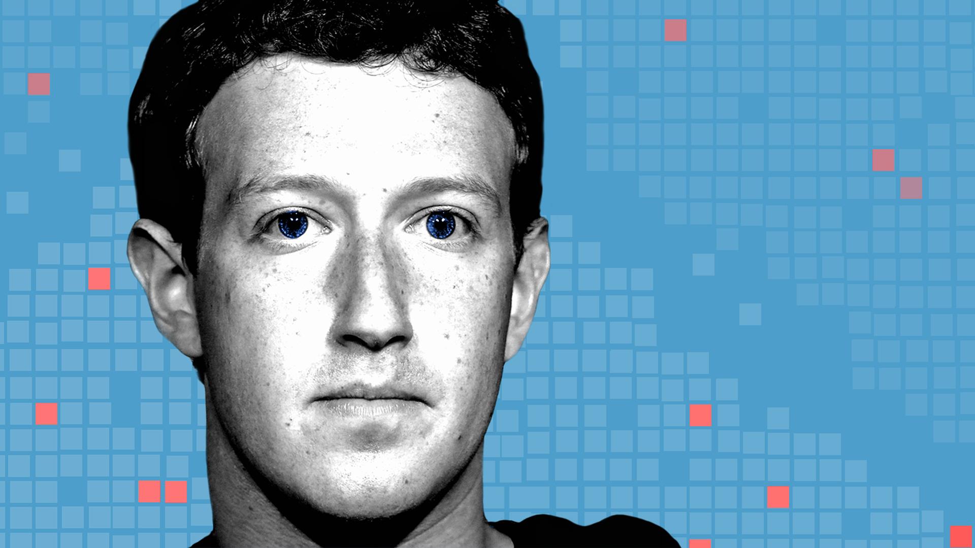 Illustration of Mark Zuckerberg's face set against a grid backdrop