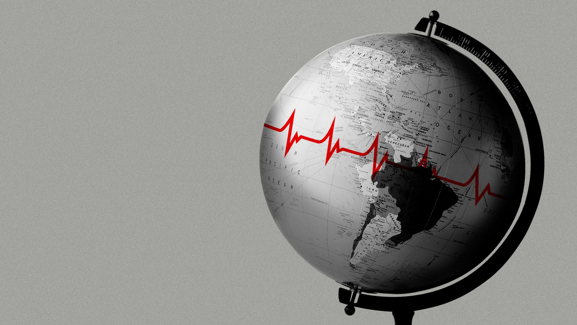 Illustration of a model globe with a red EKG equator line
