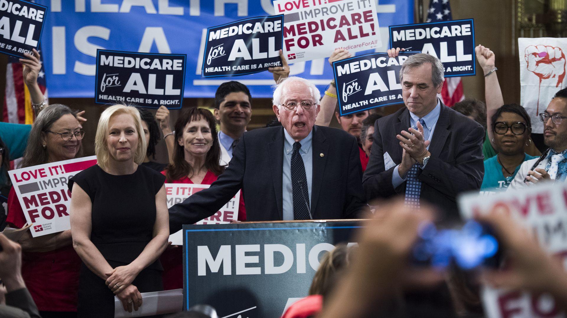Sen. Bernie Sanders introducing his Medicare for All bill of 2019.