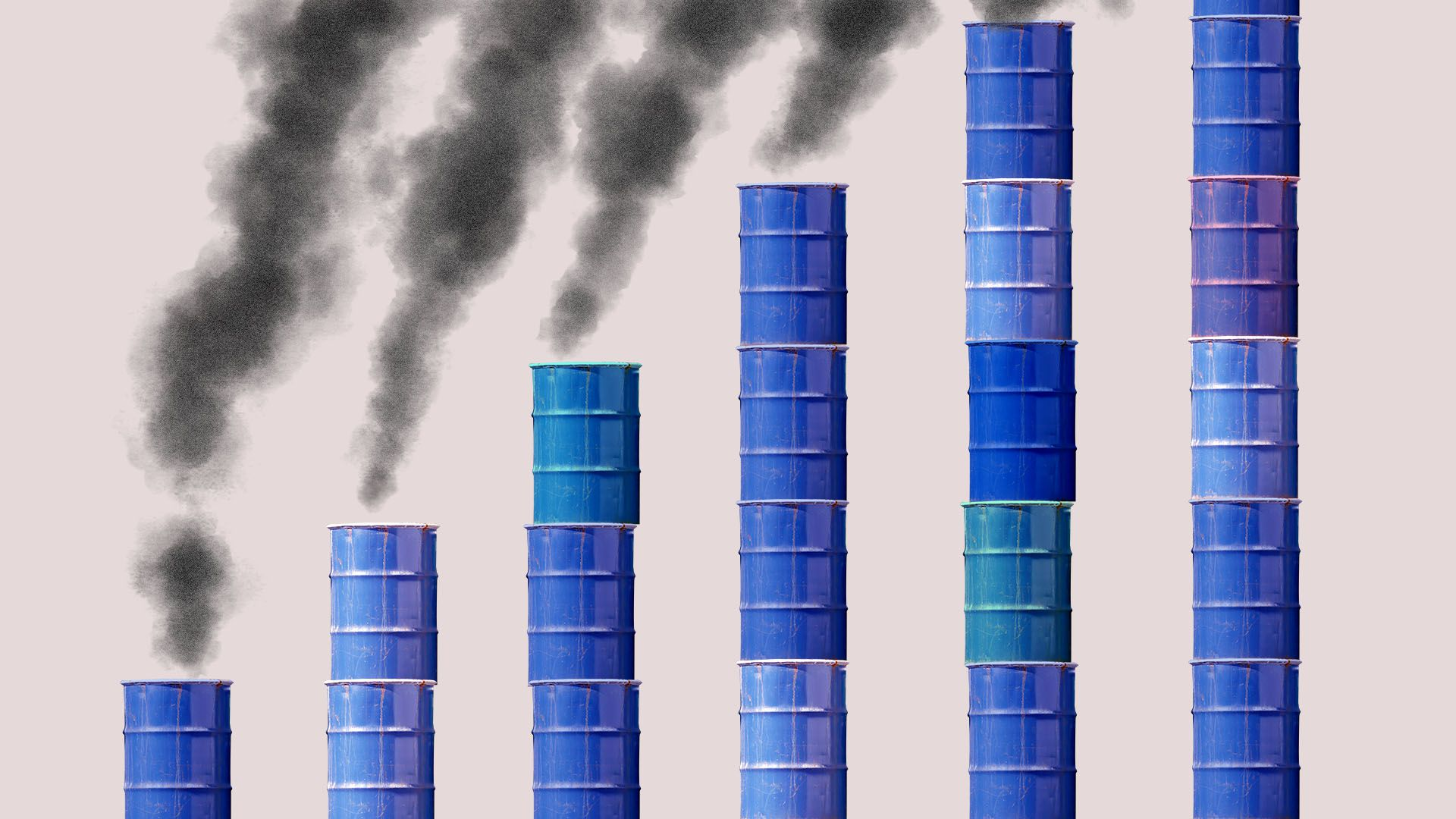 Illustration of increasing stacks of oil drums emitting smoke