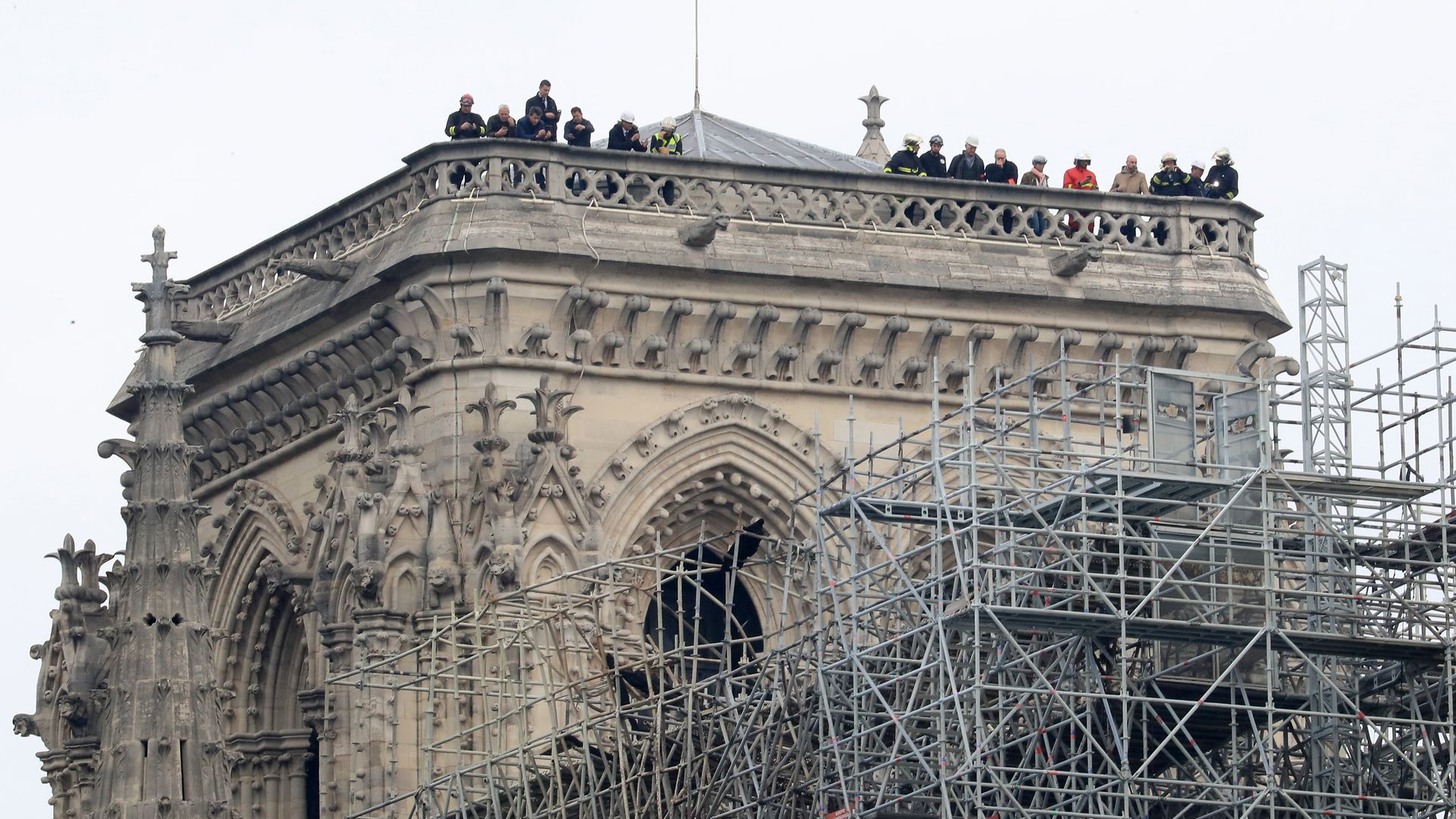 The Notre Dame Cathedral in Paris following a fire which destroyed much of the building on Monday evening.