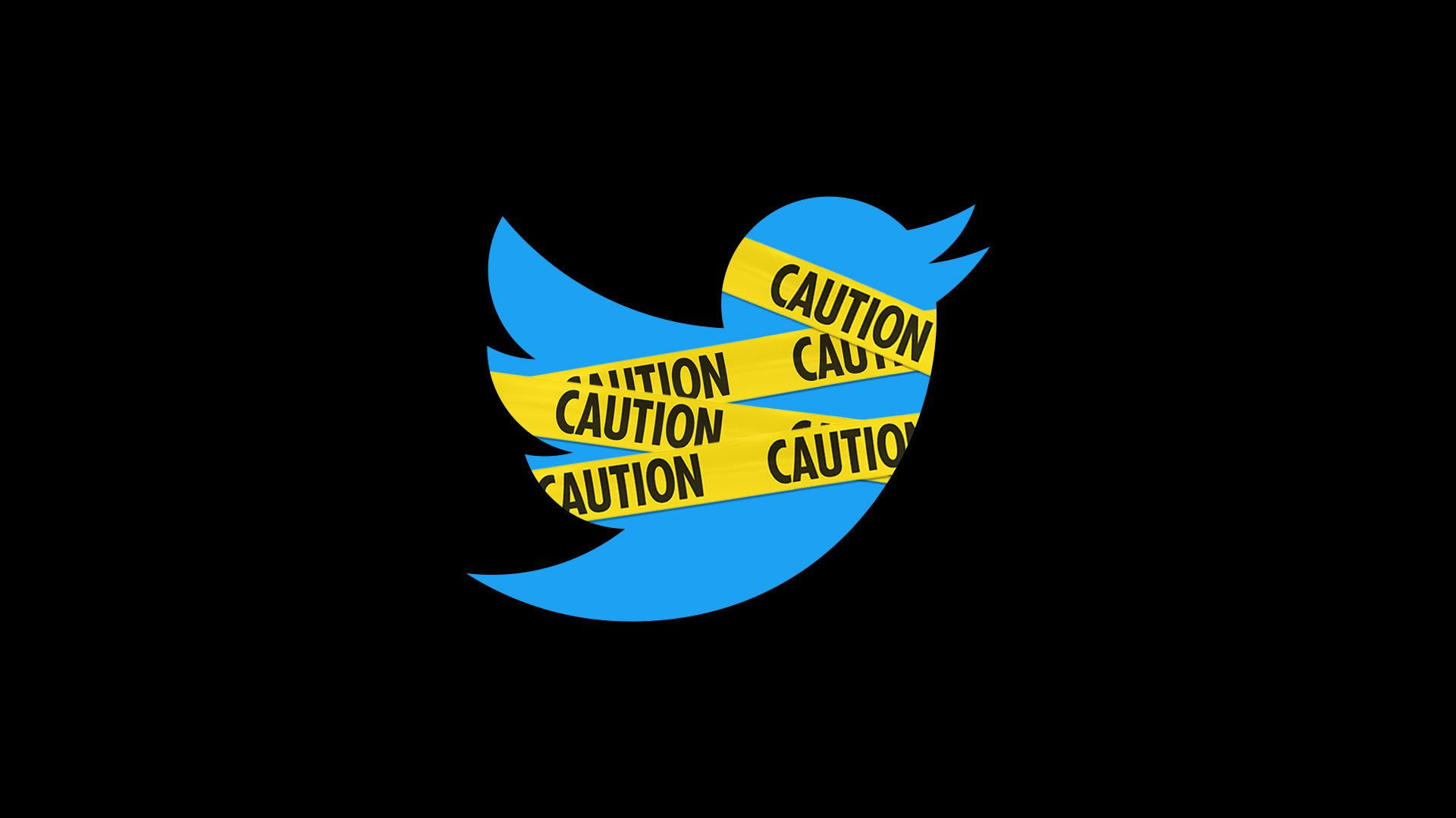 Illustration of twitter logo wrapped in caution tape