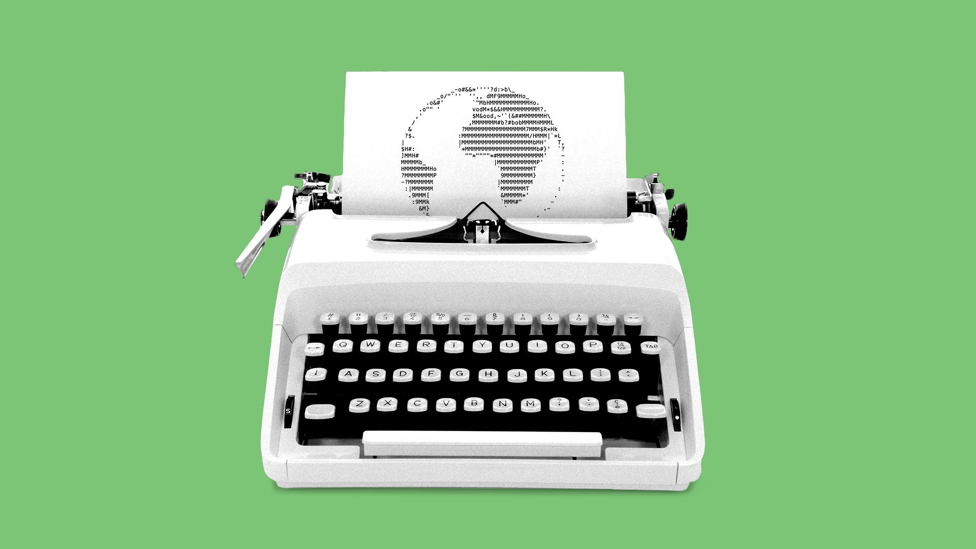 Illustration of a typewriter with ASCII art of the Earth being typed out