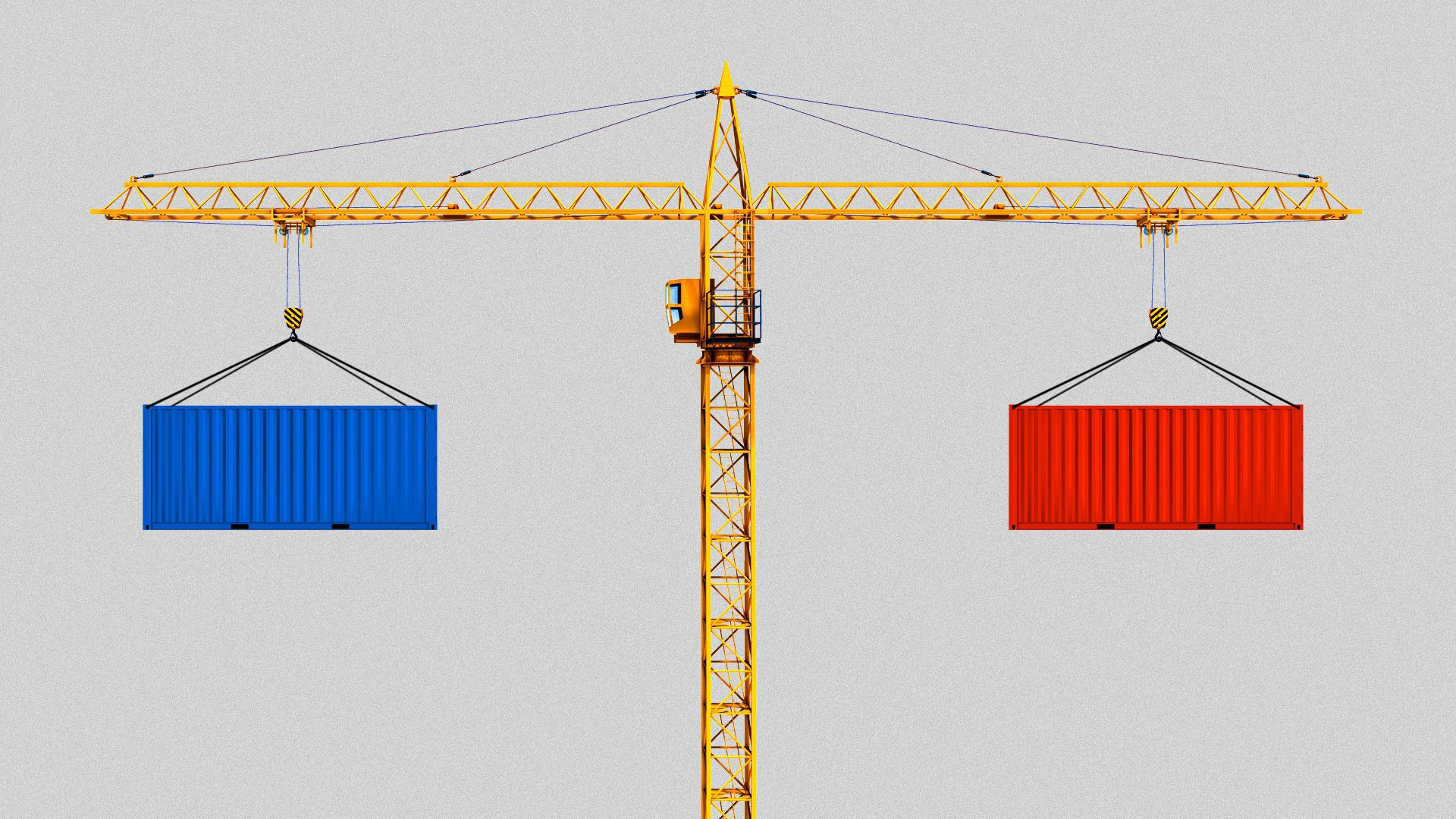 Illustration of crane carrying shipping crates.