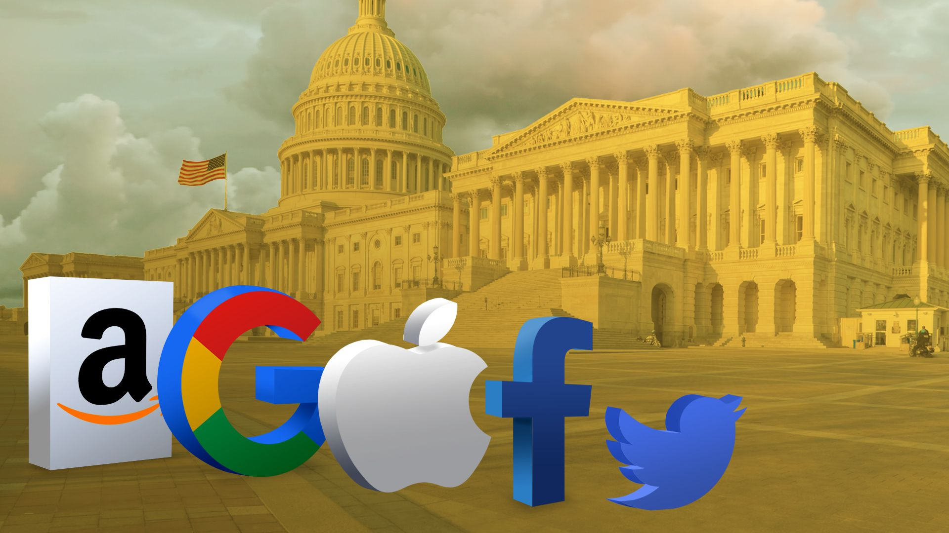 Illustration of tech logos visiting Washington DC