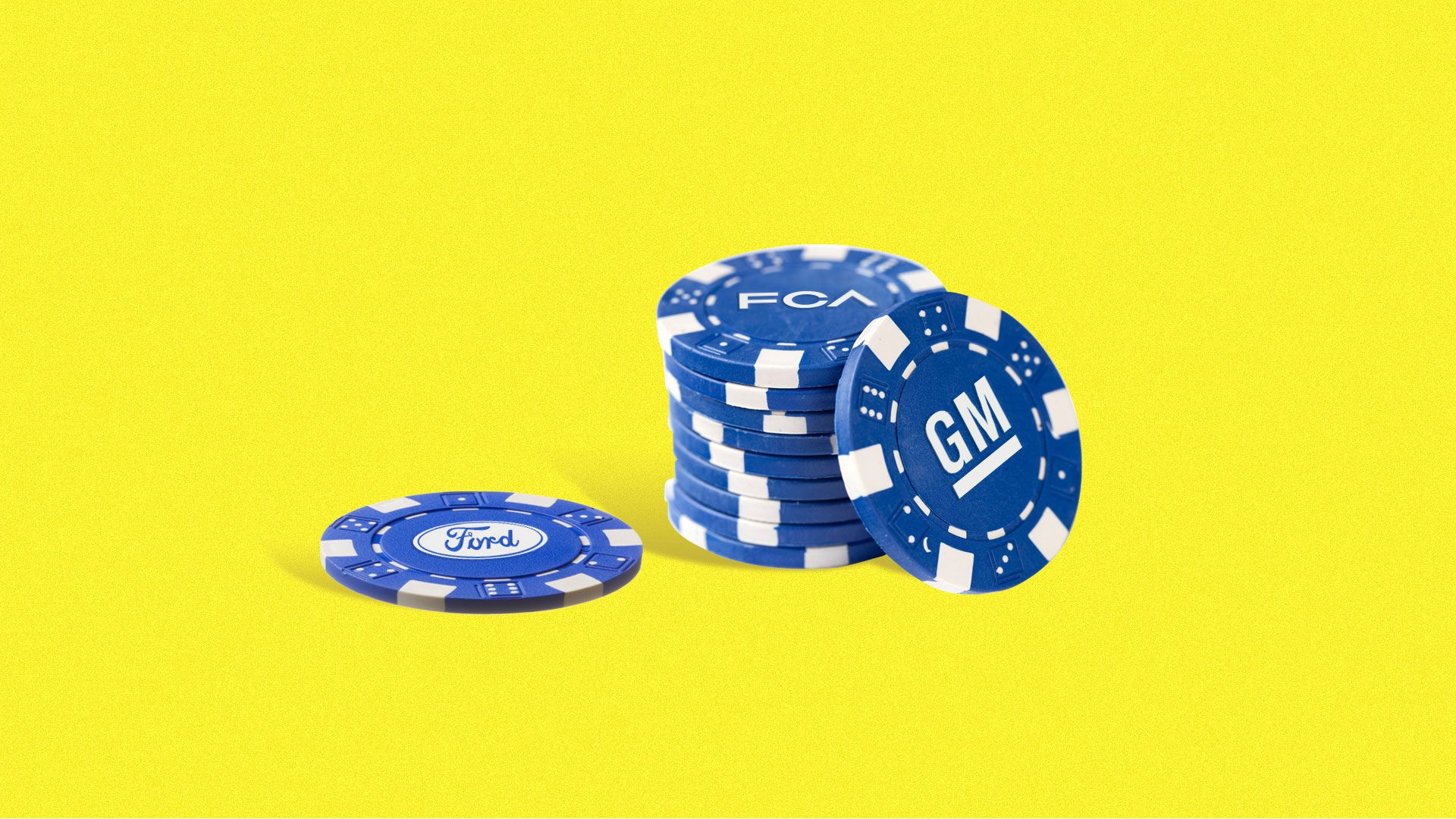 In this illustration, a pile of blue gambling chips have the GM logo on them.
