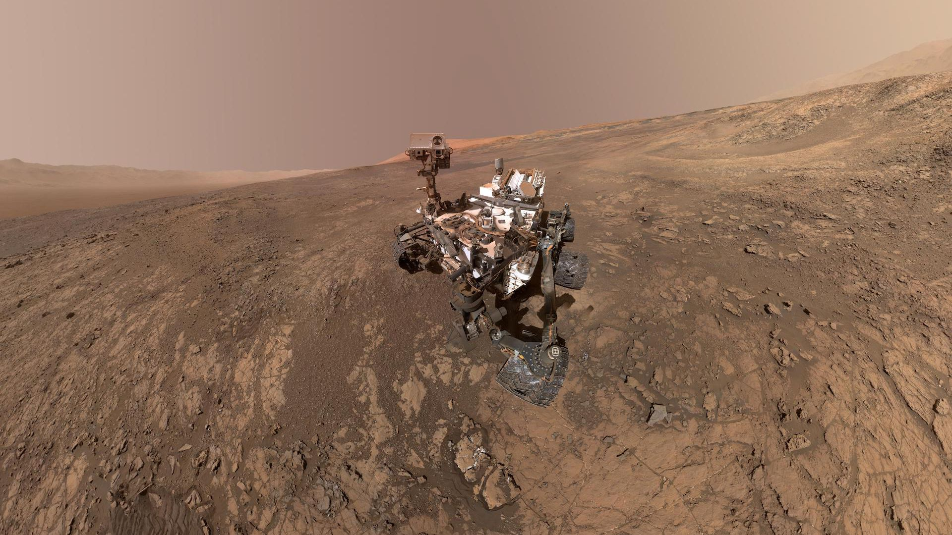 A selfie taken by the Curiosity rover on Mars