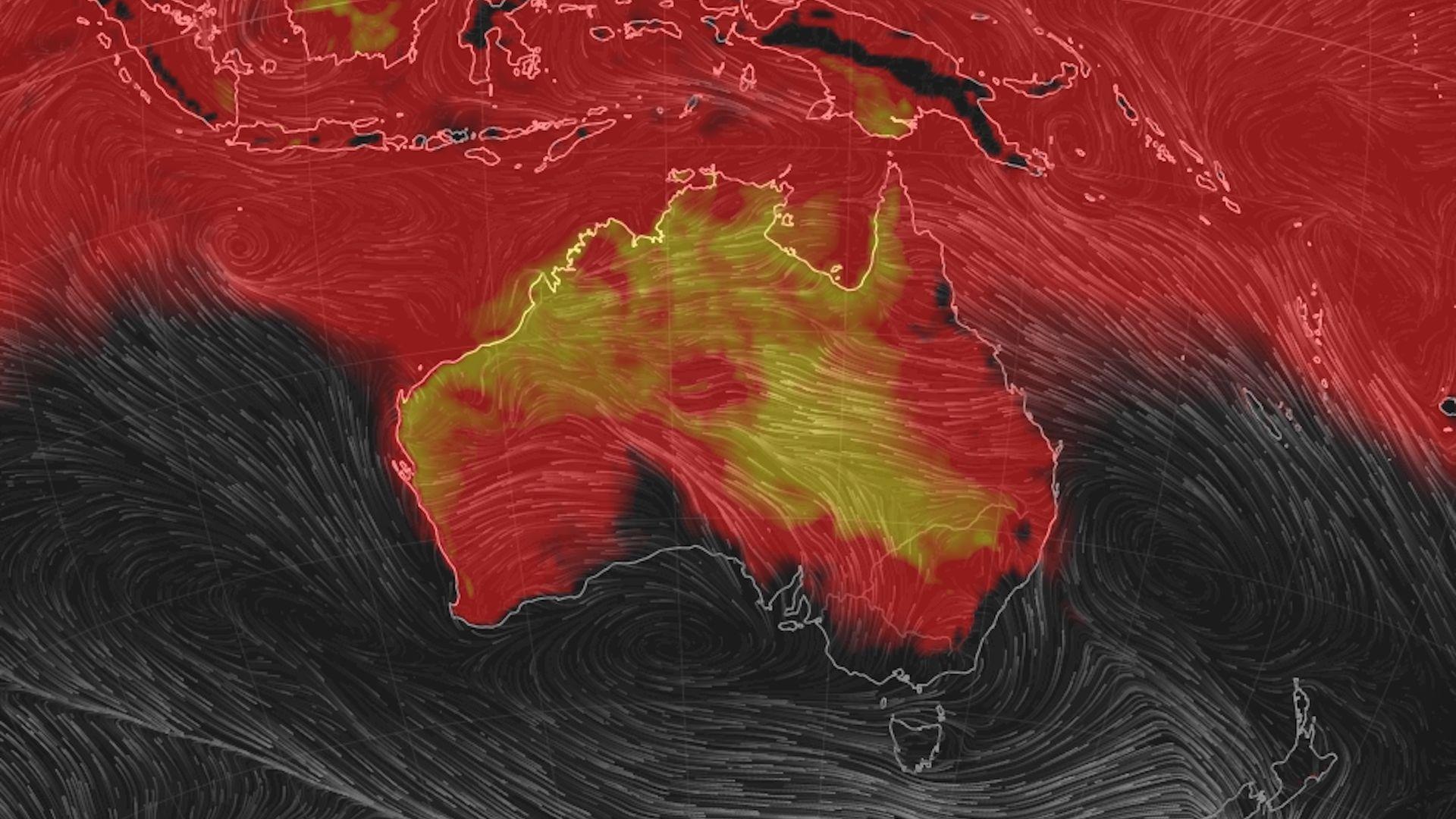 Heat wave projection for Australia on Jan. 19, 2019.