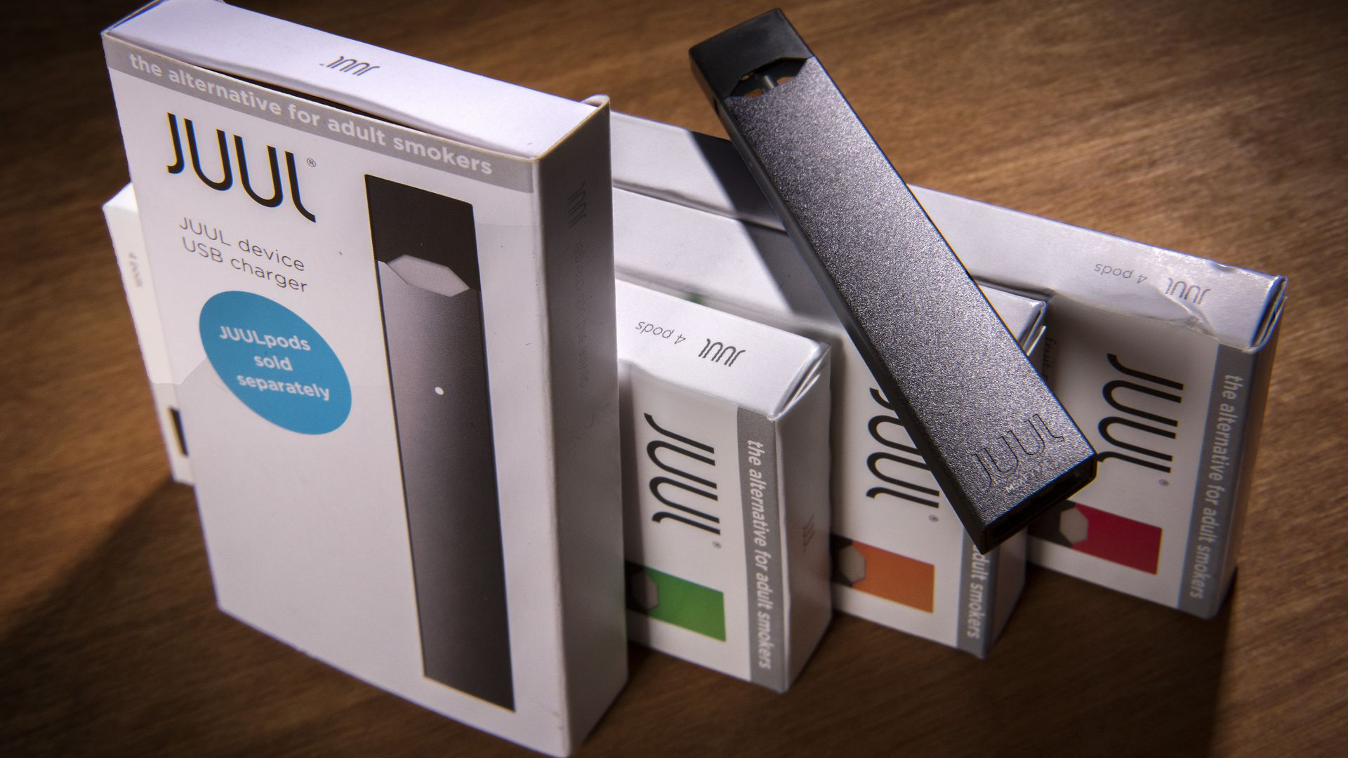 A picture of Juul products.