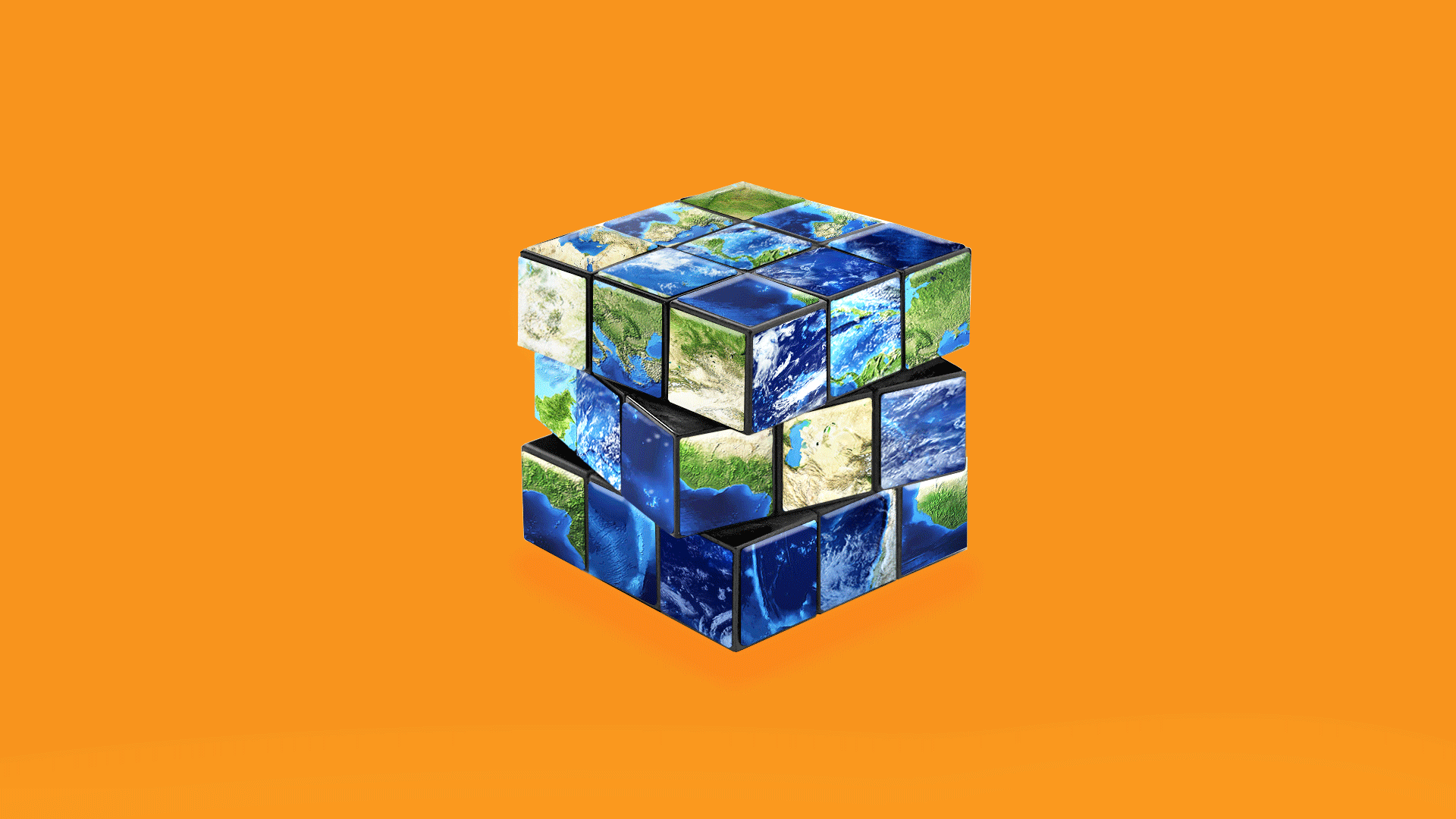 Illustration of the earth as an unsolved Rubick's cube.