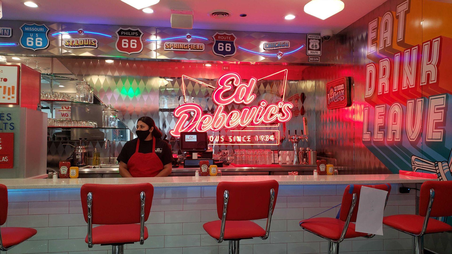 The counter at Ed Debevics restaurant.