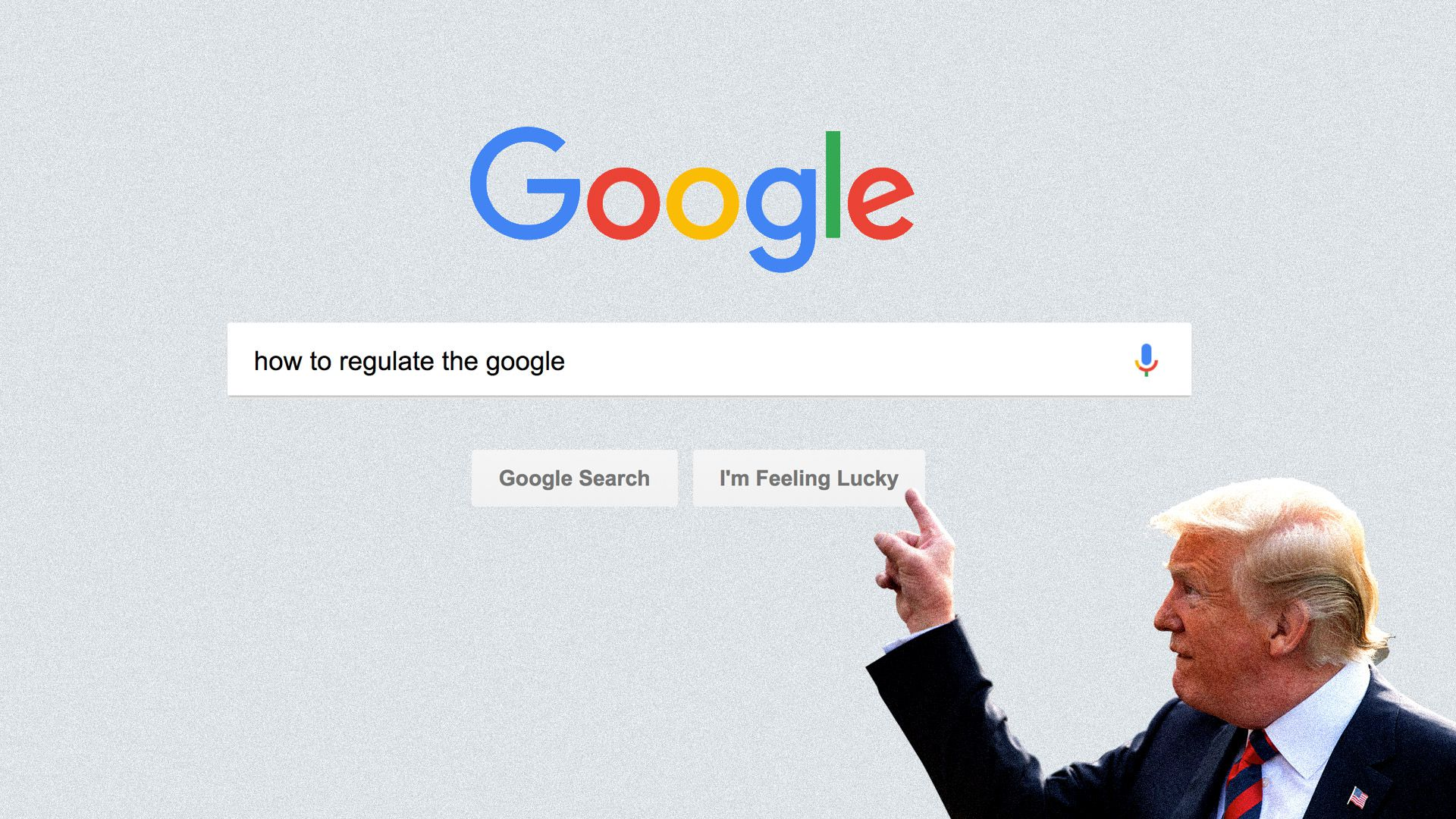 Here is President Trump pointing at a Google search