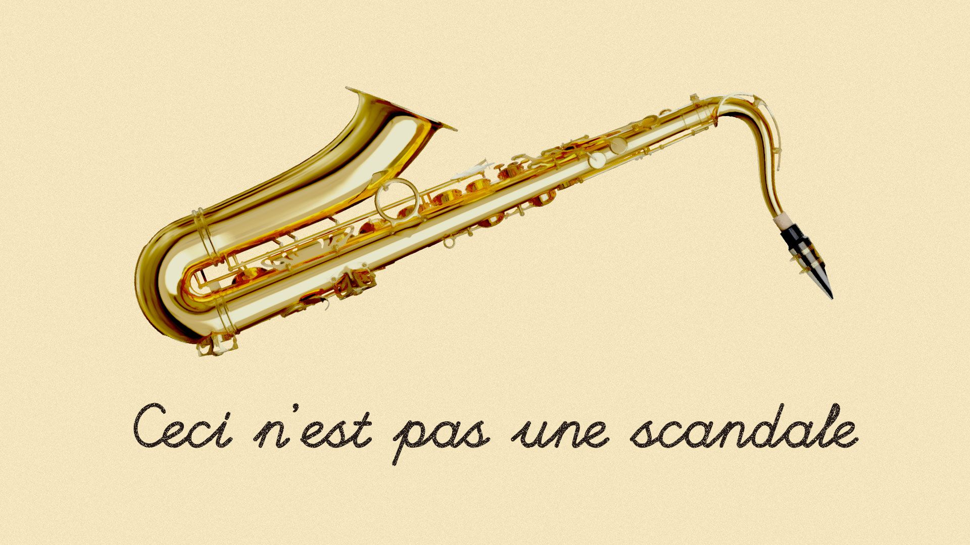 A spoof on a Rene Magritte painting showing a saxophone and reading 'Ceci n'est pas une scandale'