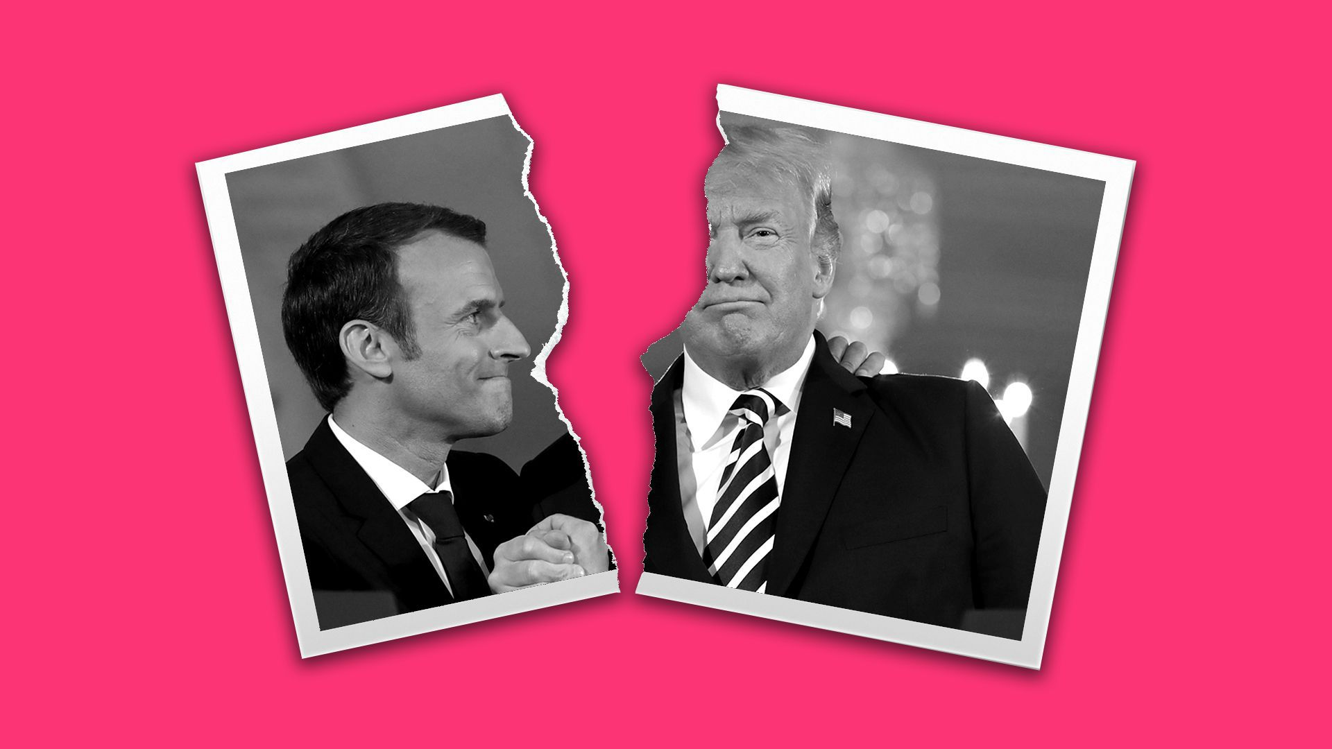 Axios illustration of ripped picture of Macron and Trump