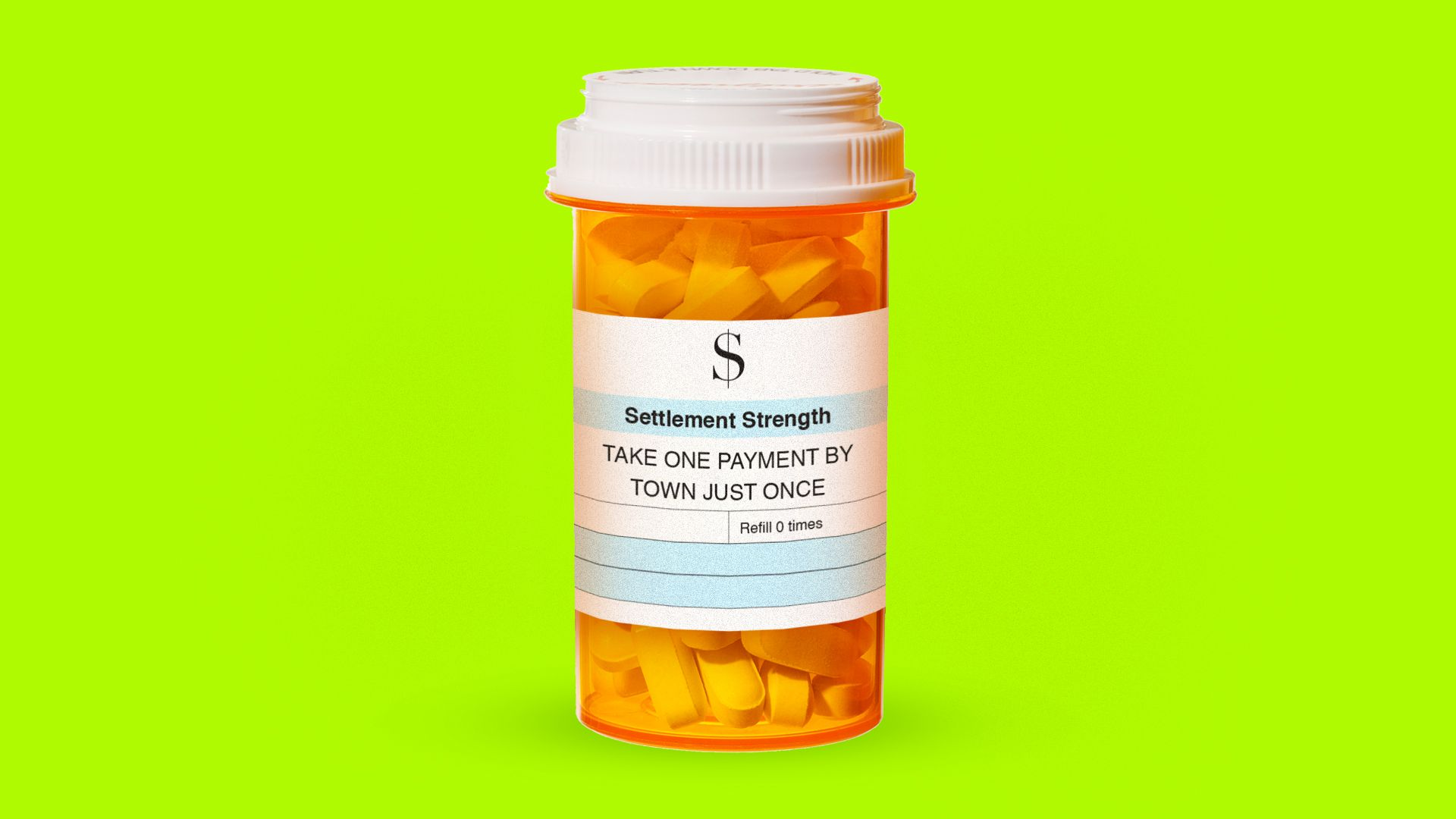 A pill bottle with a prescription for an opioids settlement.