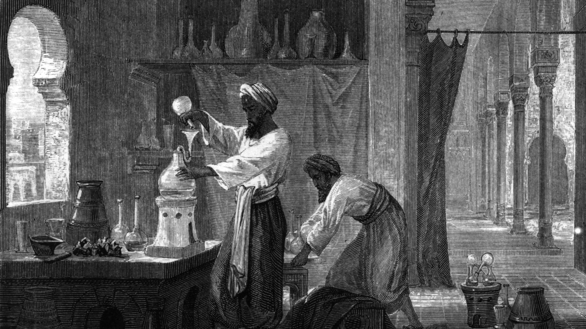 An illustration of a scientist in the Middle Ages pouring liquid from one vessel into another