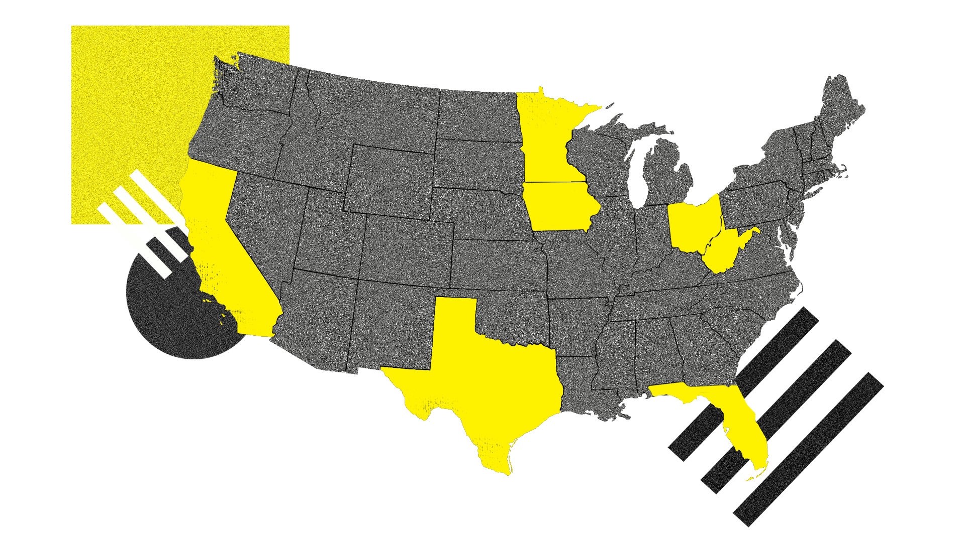 A map of the United States with the Axios 8 states highlighted