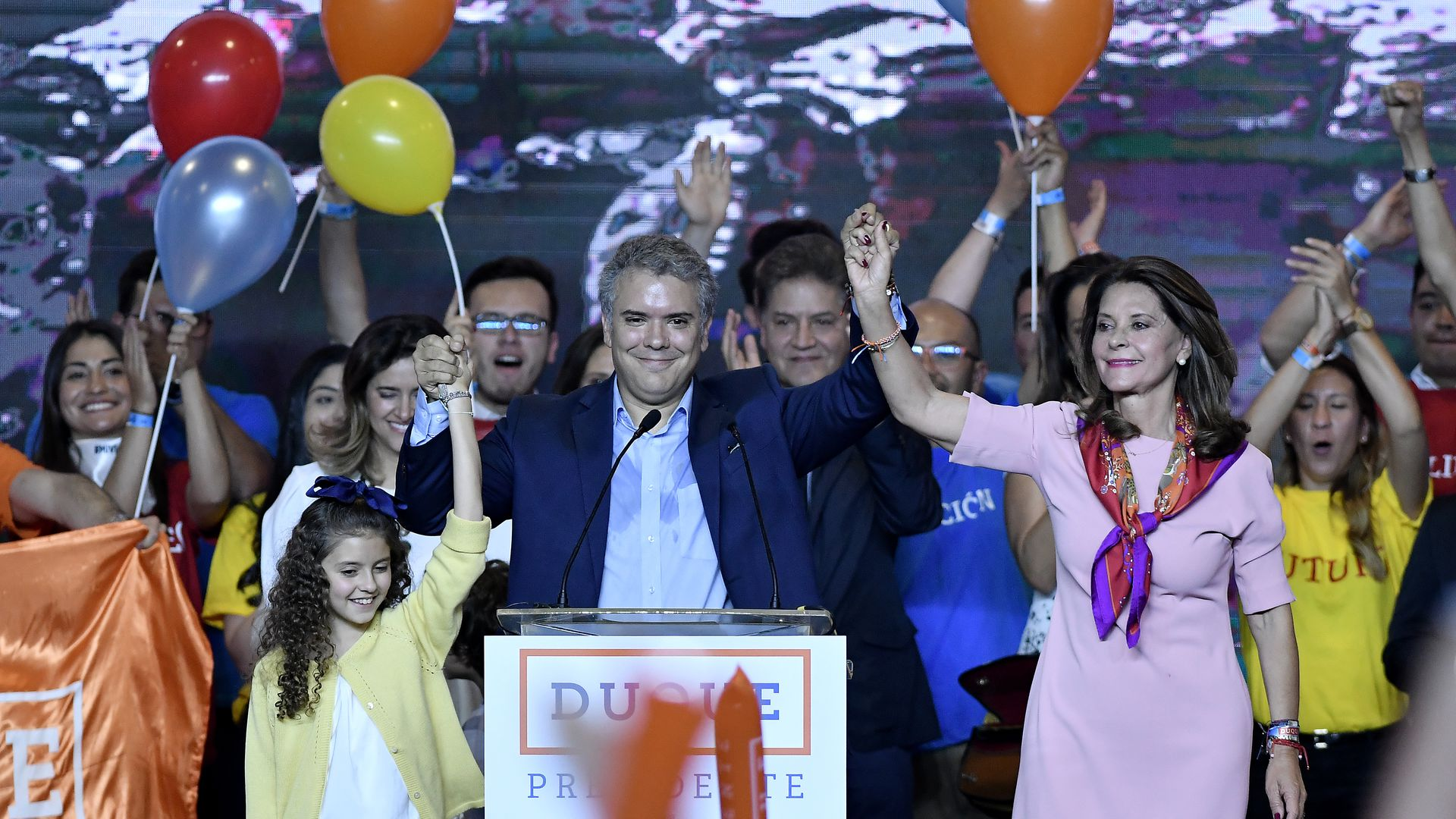 Ivan Duque, presidential candidate for the Centro Democratico party, celebrate after winning the first round Presidential Elections in Colombia on May 27, 2018, in Bogota, Colombia.