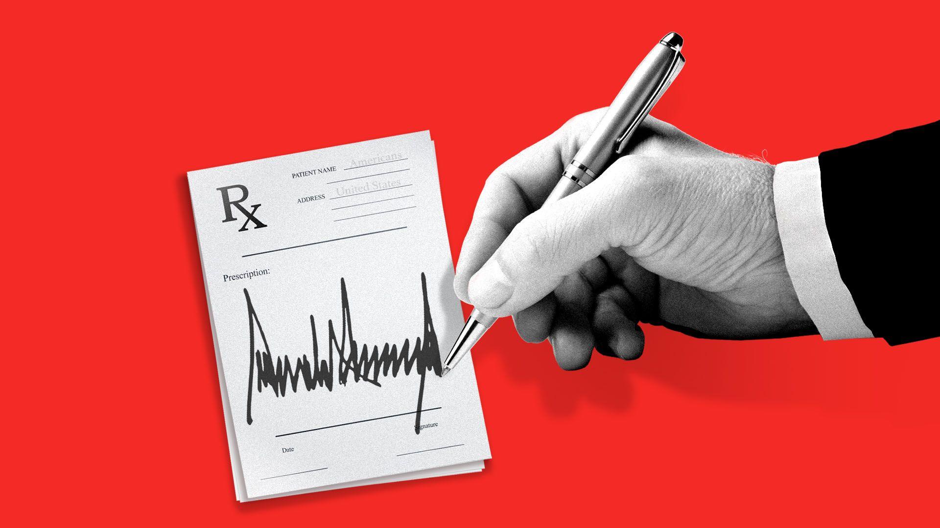 Illustration of President Trump signing a prescription script