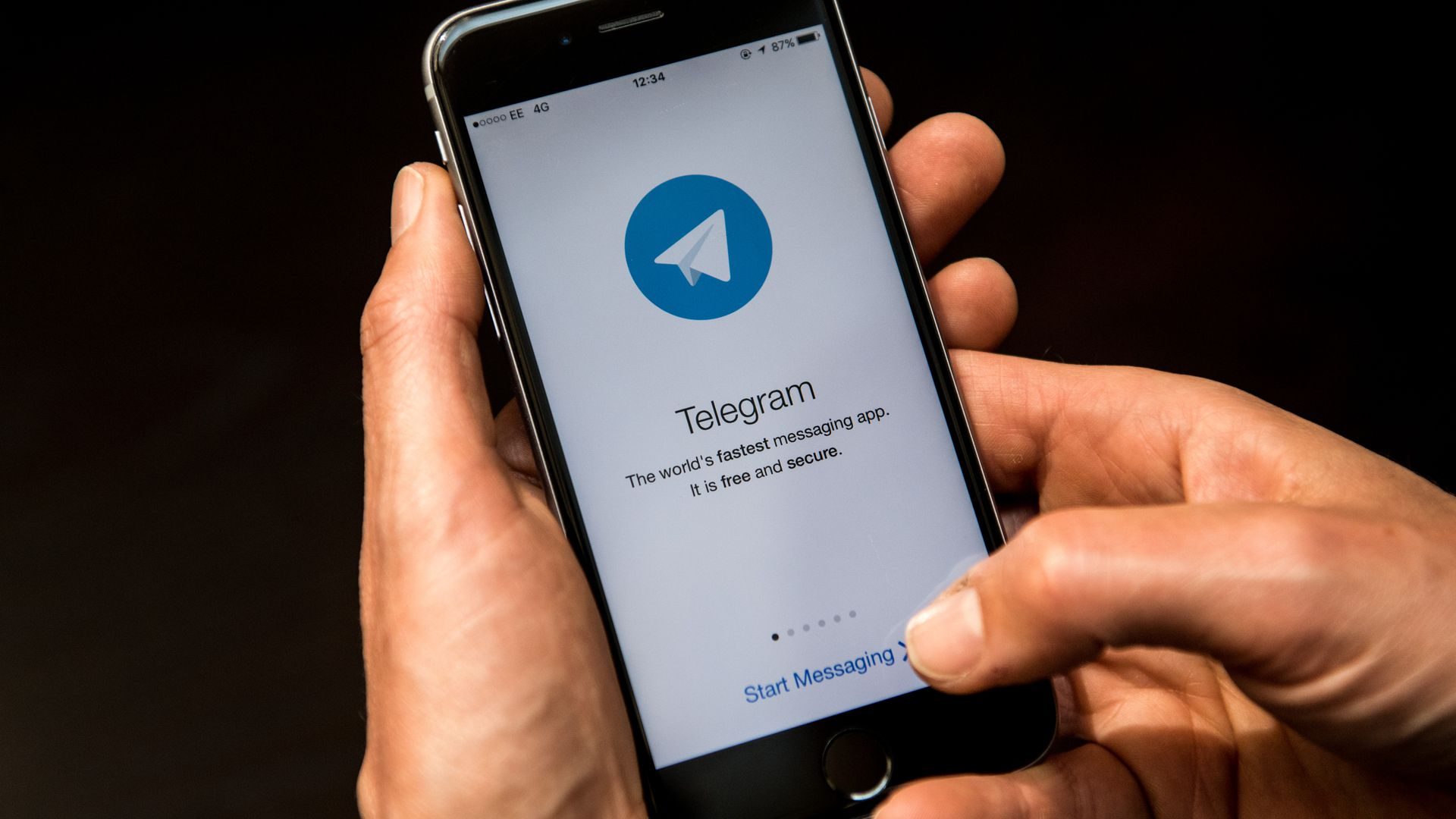 A close-up view of the Telegram messaging app is seen on a smart phone