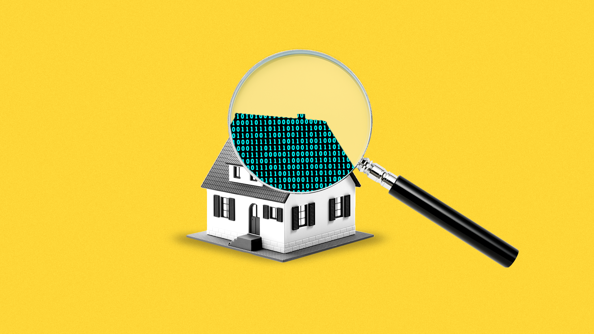 Illustration of a house with a magnifying glass revealing binary code