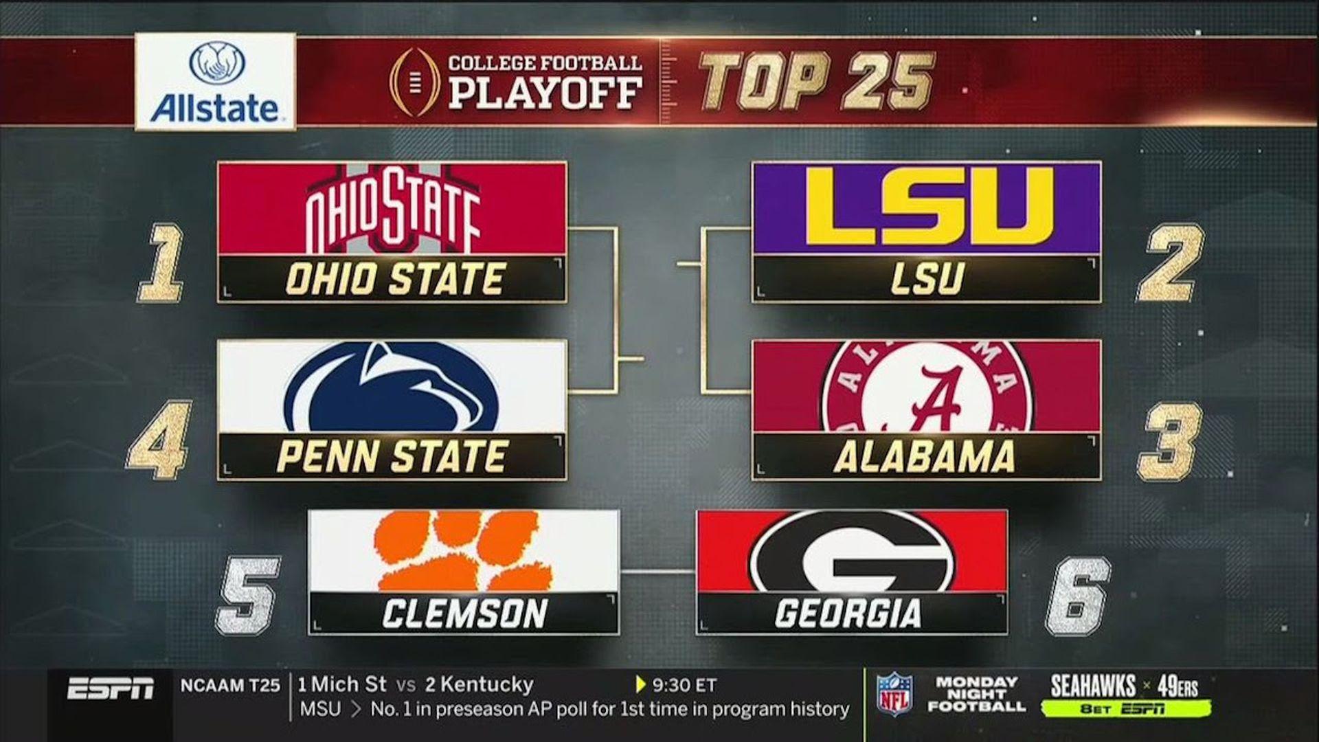 Screenshot of college football rankings